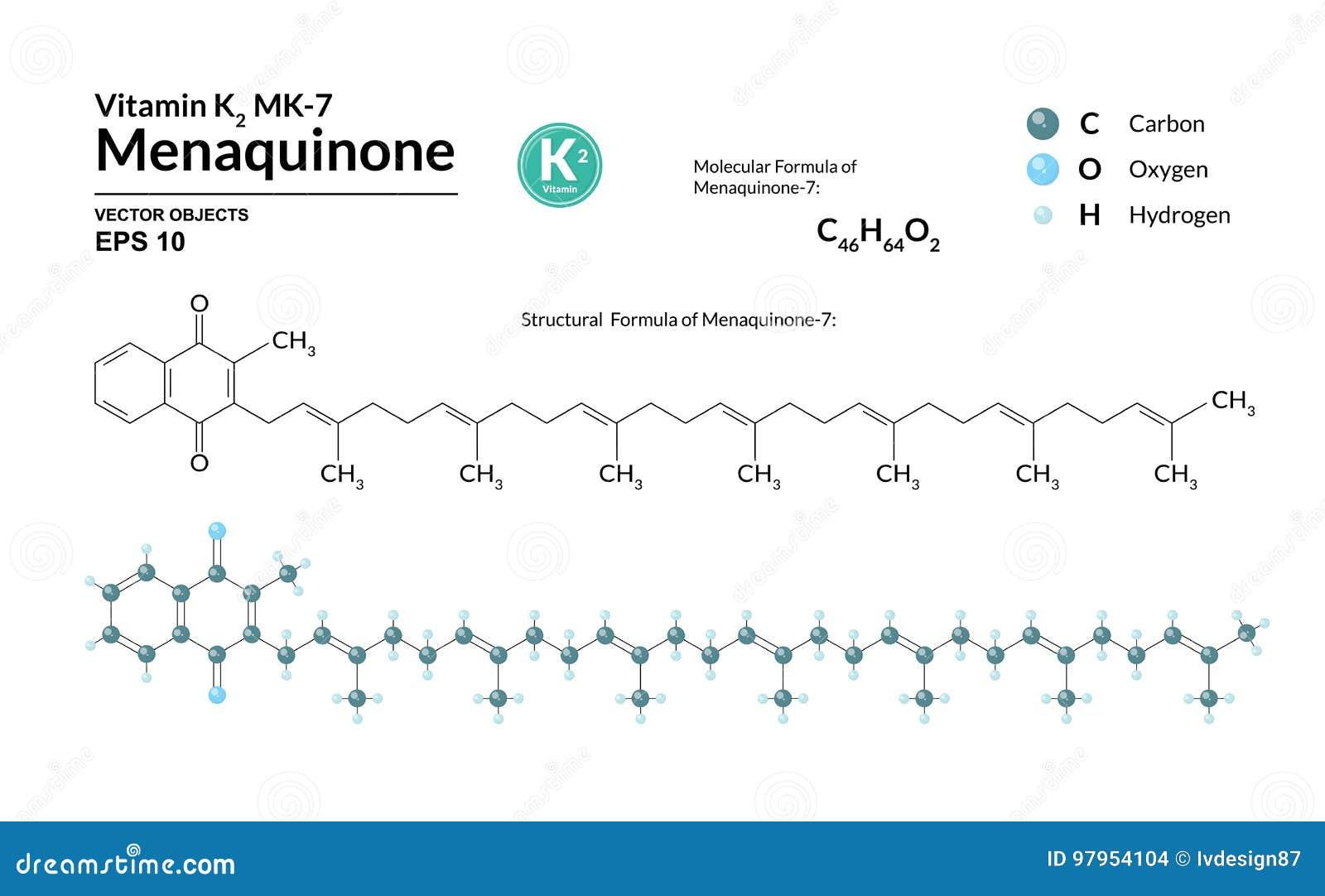 Structureel chemisch moleculair formule en model van menaquinone-7 De atomen worden vertegenwoordigd als gebieden met kleurencoda