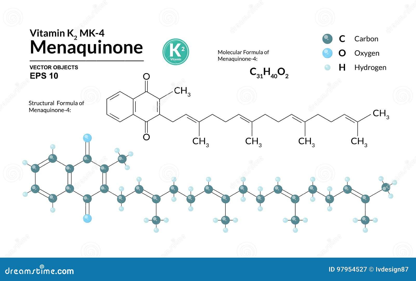 Structureel chemisch moleculair formule en model van menaquinone-4 De atomen worden vertegenwoordigd als gebieden met kleurencoda
