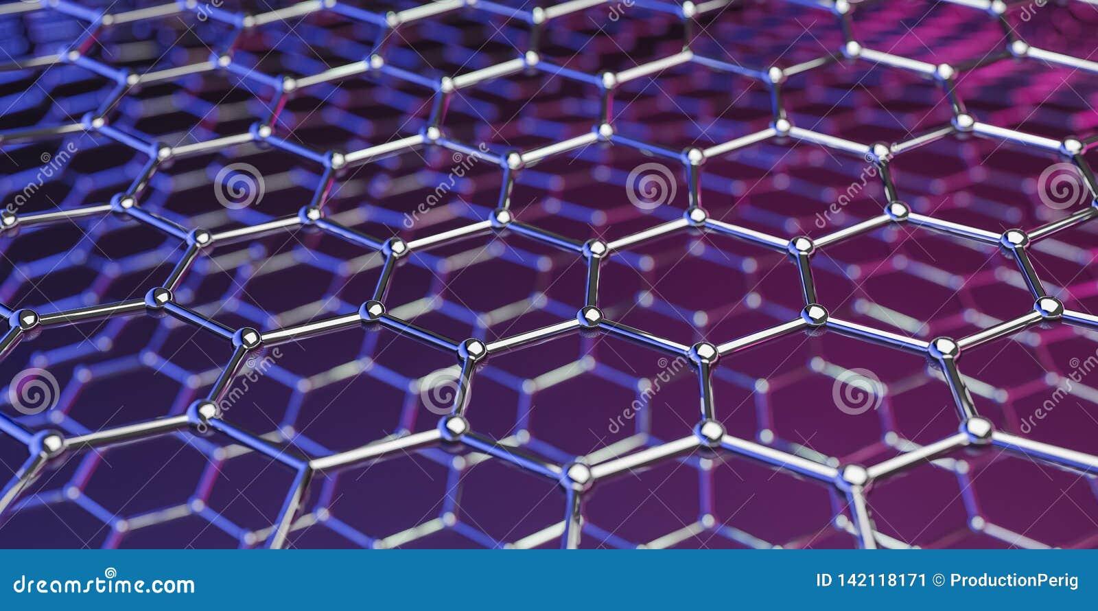 Structuur van de Graphene de moleculaire nano technologie op een purper-roze achtergrond - het 3d teruggeven