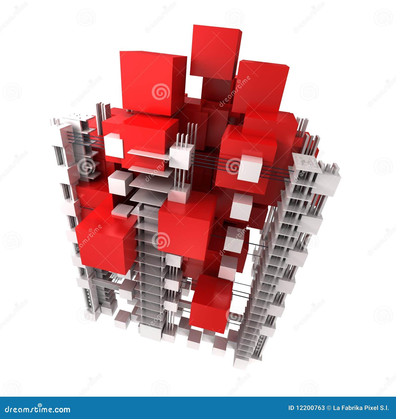 Struktur in Rotem und in weißem