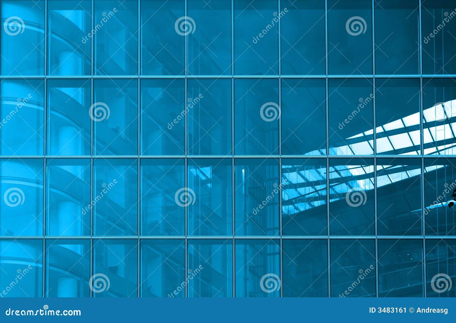 Strukturell blå fönsterrutor