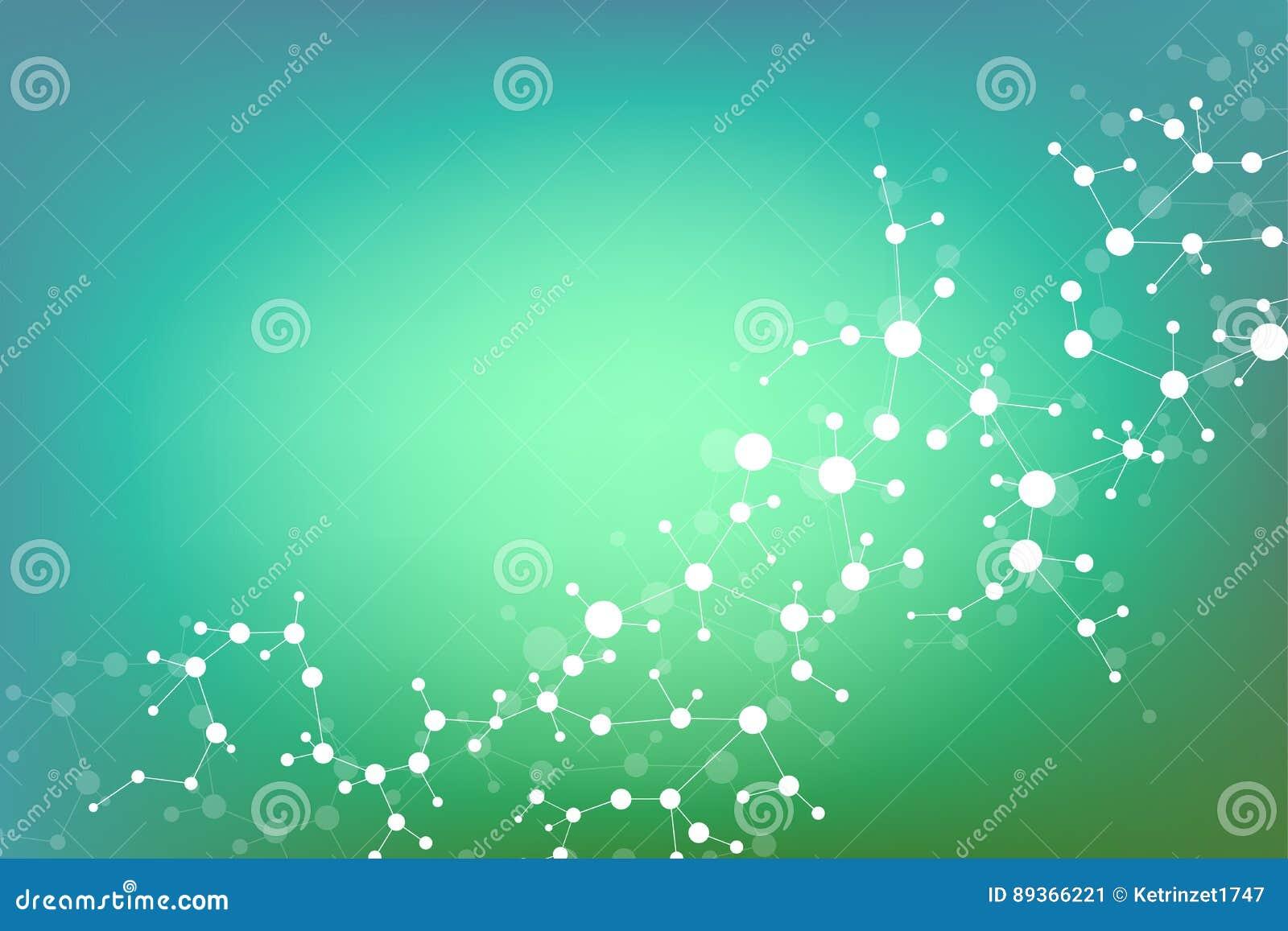 Strukturera molekylen och kommunikationsDna, atomen, neurons Vetenskapsbegrepp för din design Förbindelselinjer med prickar