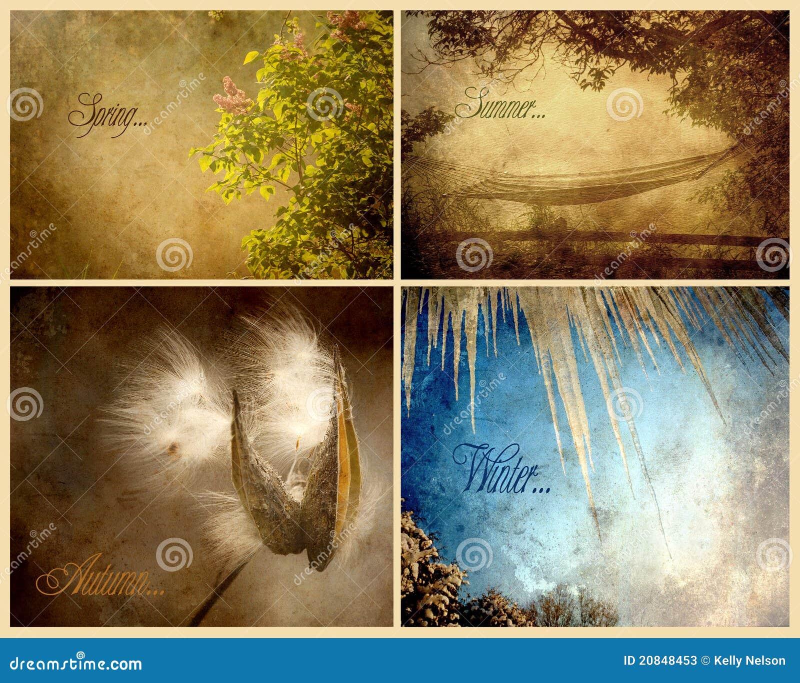 strukturierte collage von vier jahreszeiten stockbild