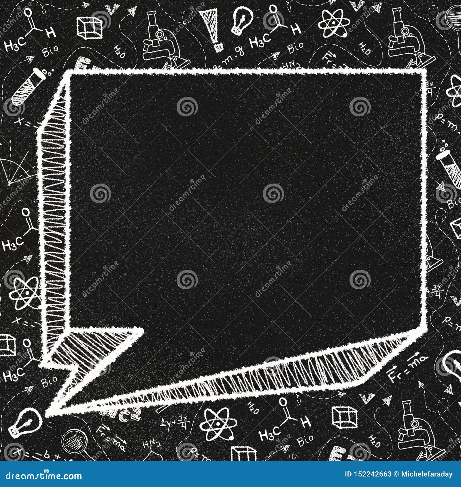 Strukturierte Tafel mit einer leeren Spracheblase und Schulthemenorientierten Gekritzeln