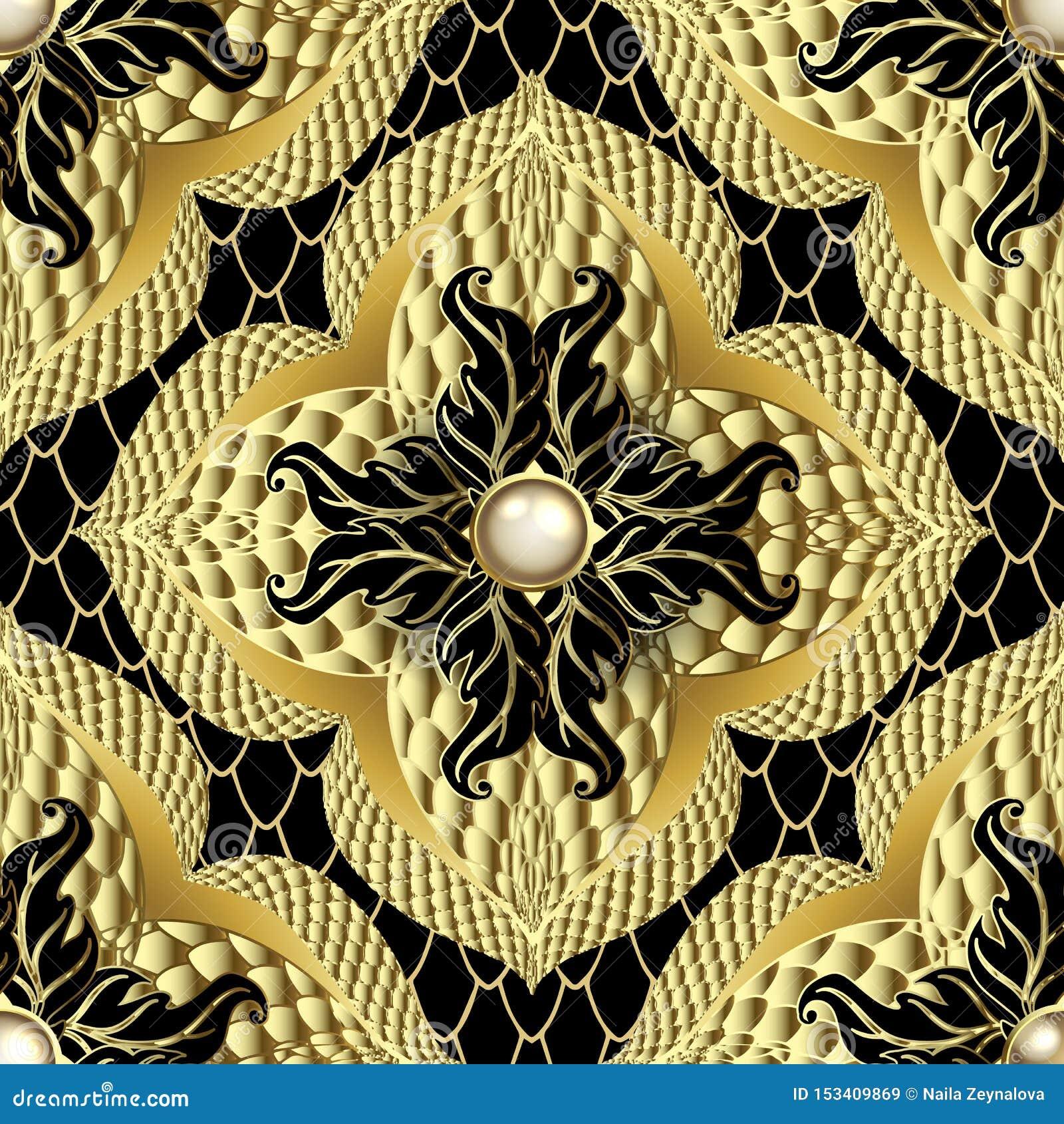 Strukturiertes dekoratives nahtloses Muster des Gold 3d Blumenschmuckspitzehintergrund Schöne Perlenedelsteine, Blumen, Blätter V