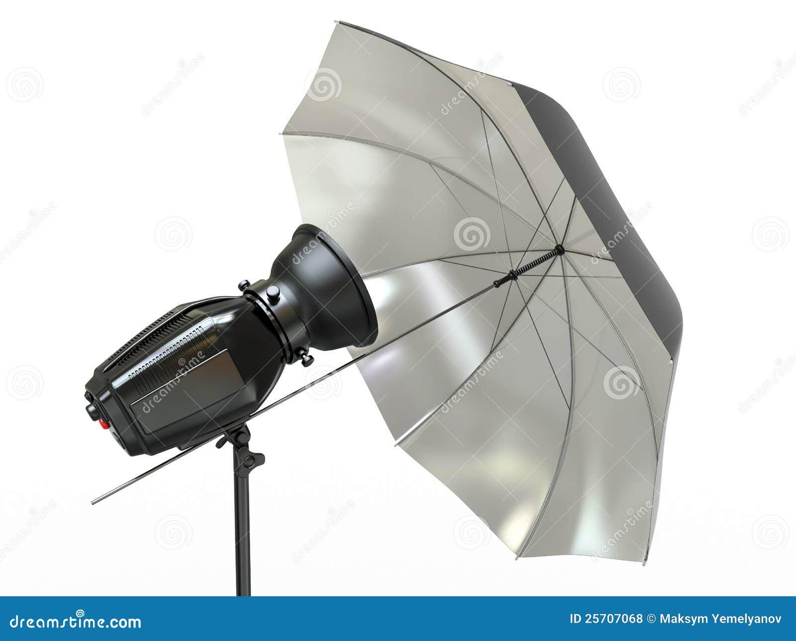 Strumentazione di illuminazione dello studio flash ed ombrello
