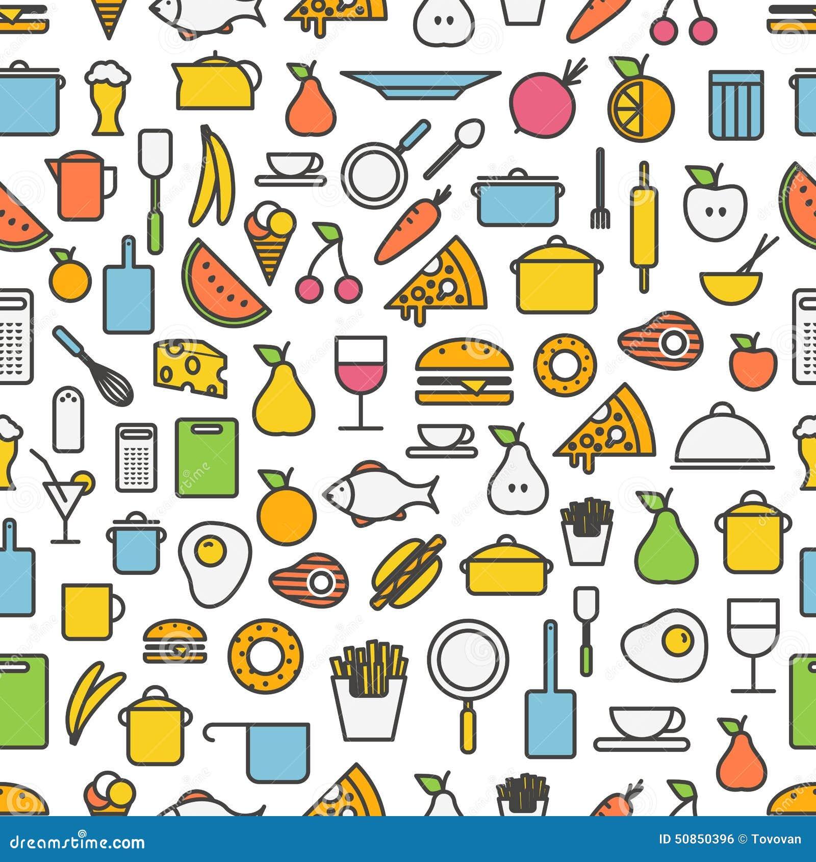 strumenti della cucina ed icone della siluetta del pasto