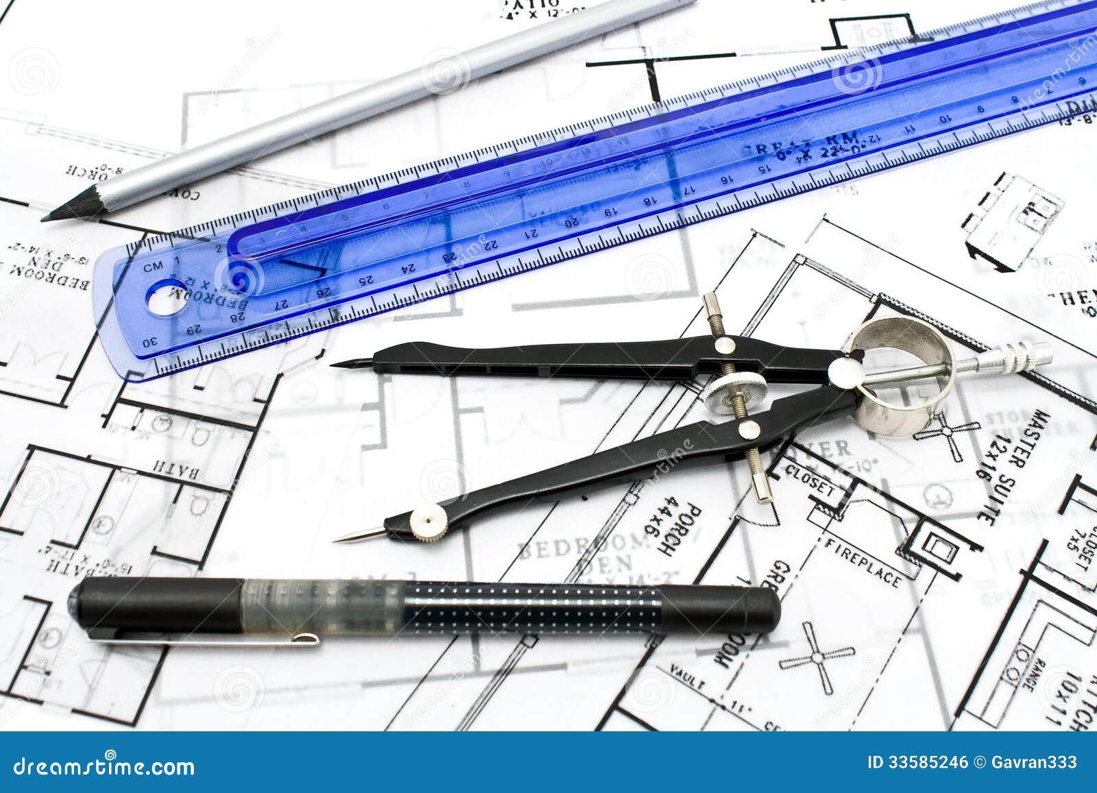 Strumenti di disegno fotografia stock immagine di misure 33585246 - Disegno pianta casa ...