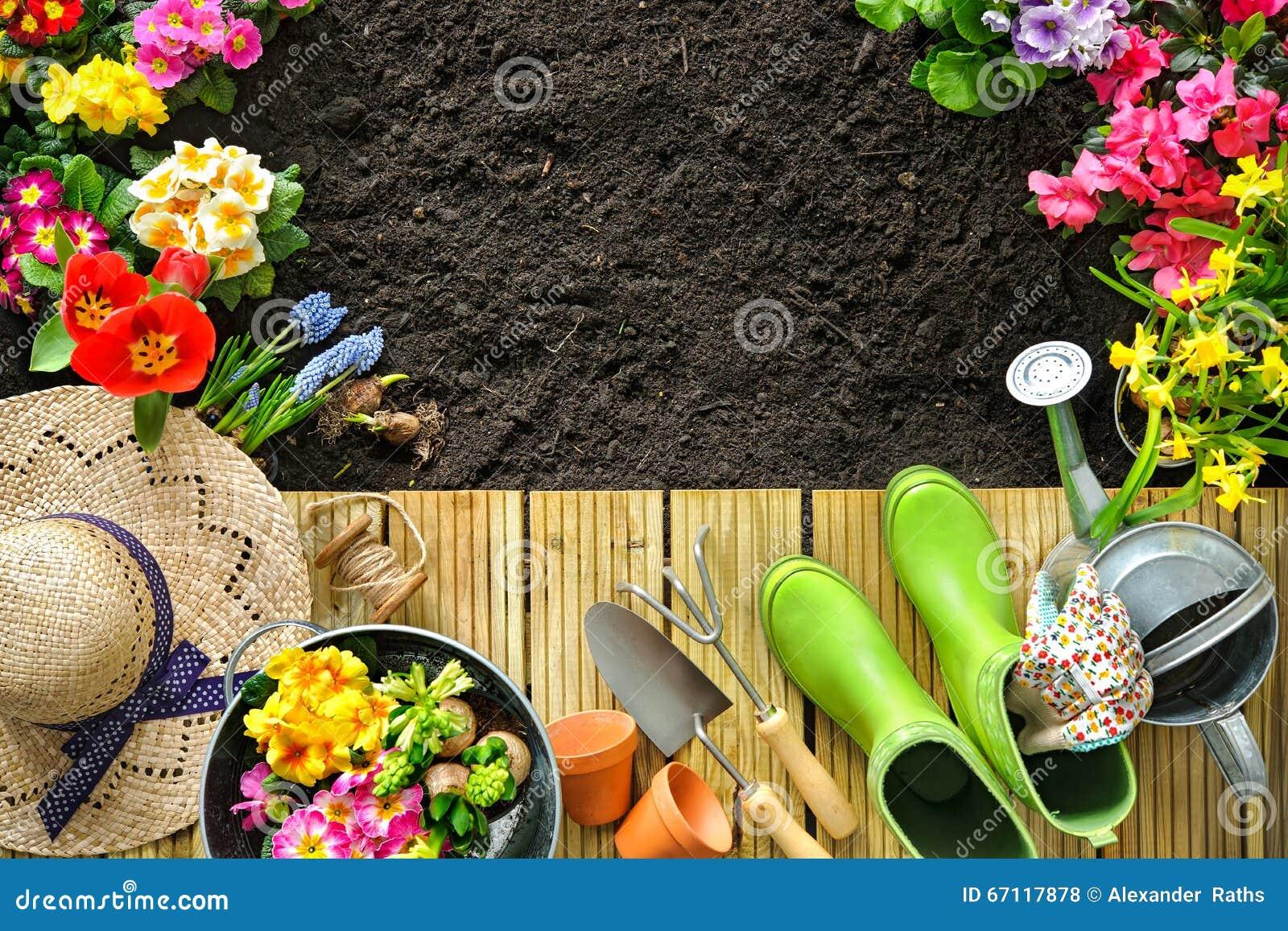 Strumenti E Fiori Di Giardinaggio Sul Terrazzo Fotografia Stock ...