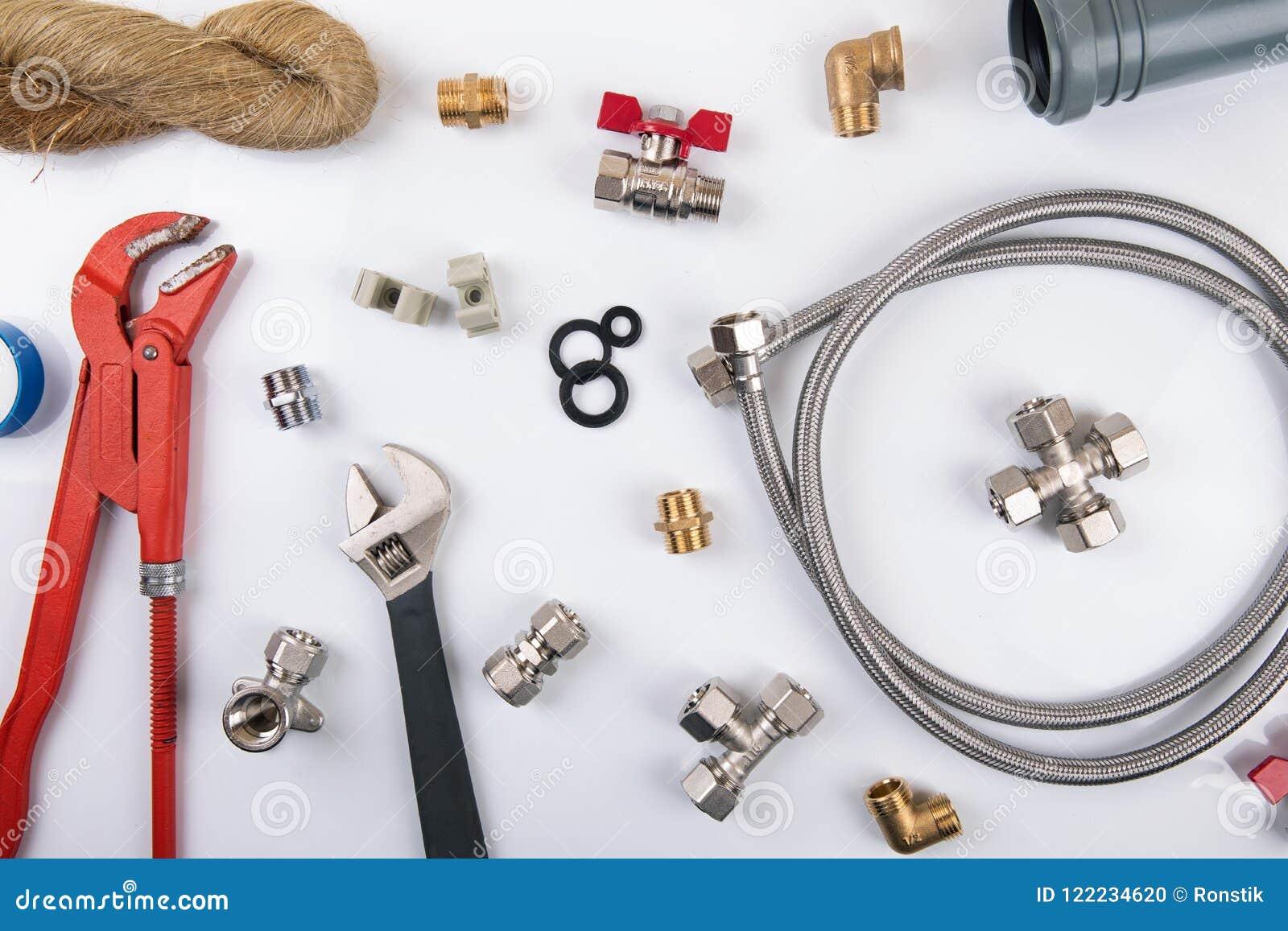 Strumenti ed accessori dellimpianto idraulico vista superiore