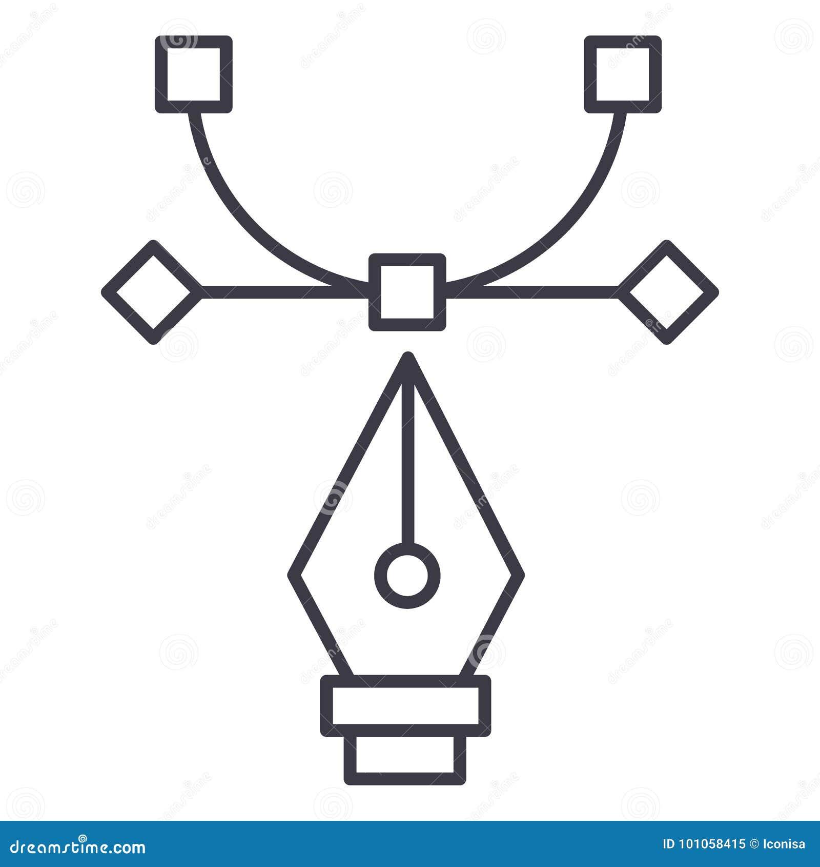 Strumento grafico, strumento di curvatura, linea icona, segno, illustrazione di vettore di progettazione su fondo, colpi editabil