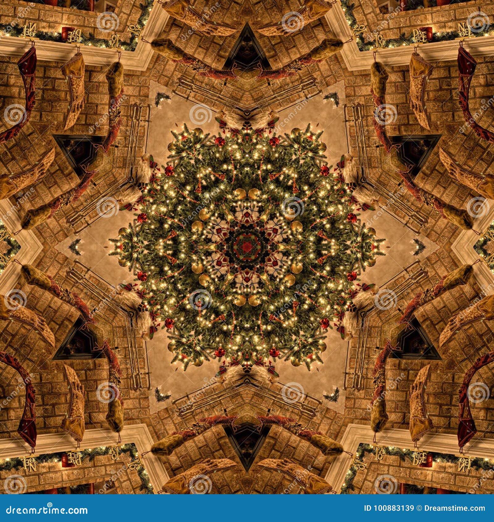 Struttura astratta di Mandala Kaleidoscope di Natale di Brown