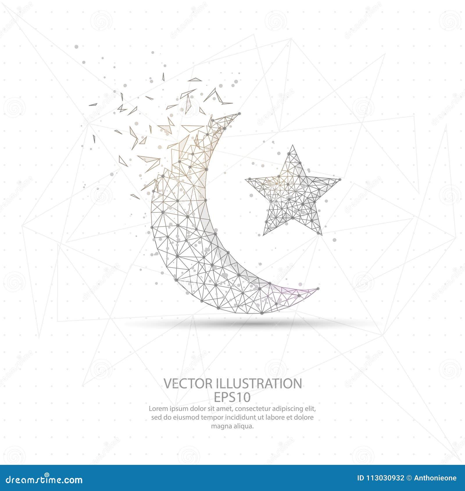 Struttura bassa digitalmente disegnata del cavo della stella e della luna poli