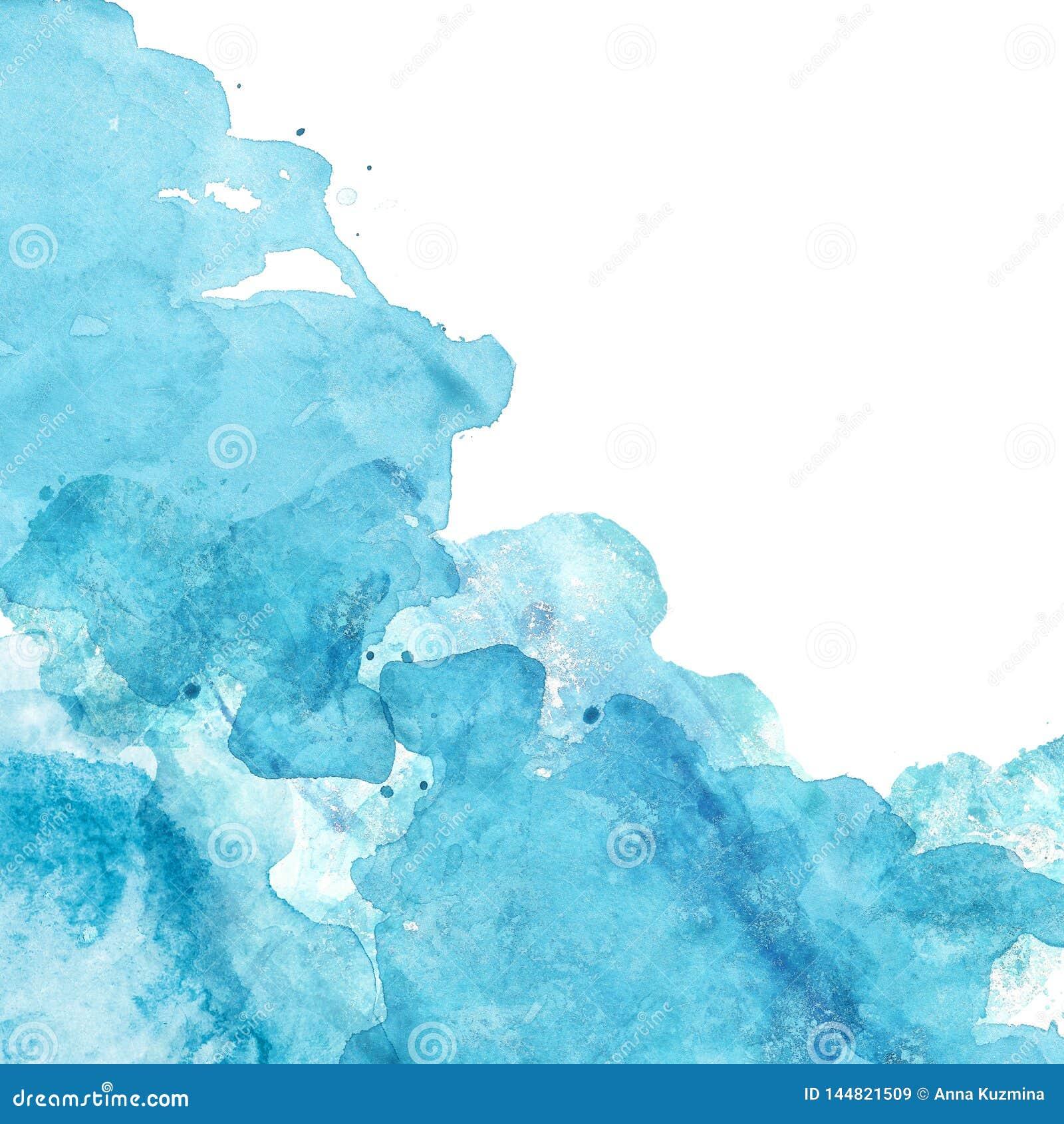Struttura blu del mare dell acquerello con la pittura liquida dell acquerello su fondo bianco Insegna dipinta a mano astratta