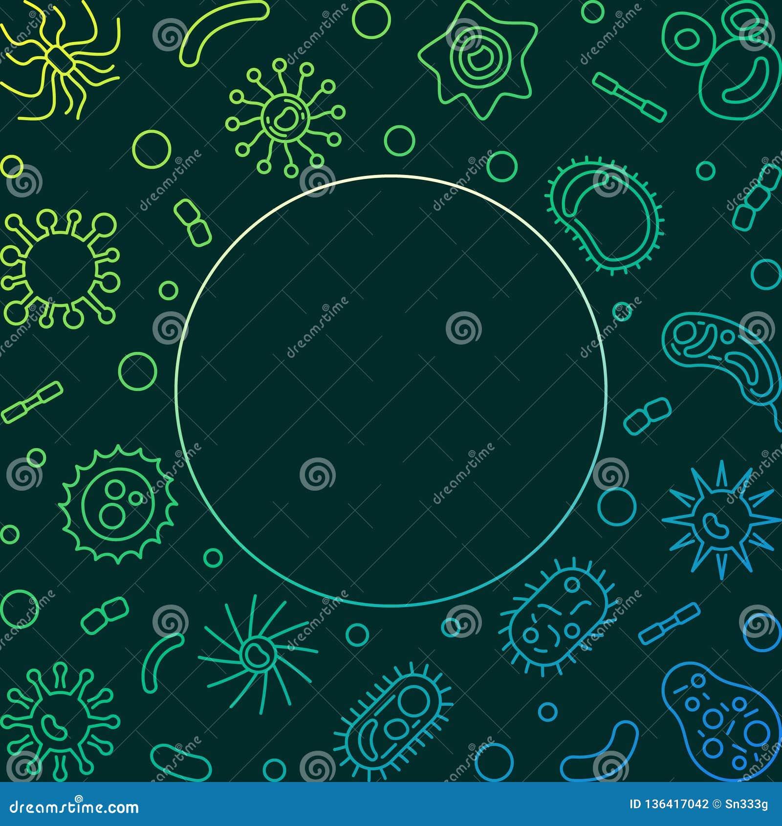 Struttura colorata quadrato di batteriologia - illustrazione al tratto di vettore