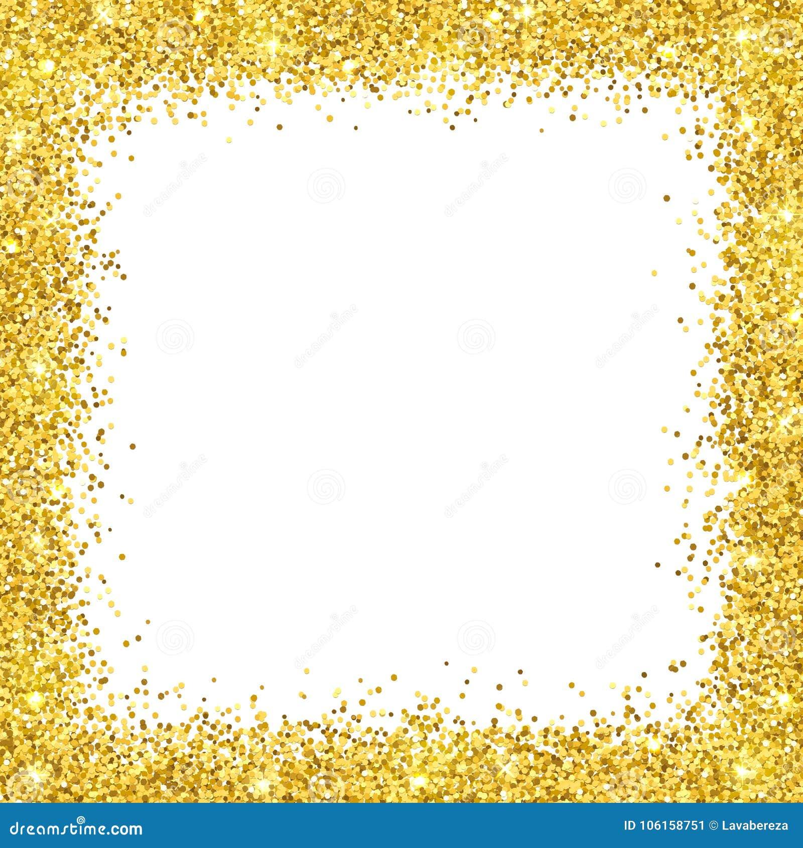 Struttura del confine di scintillio dell oro su backround bianco Vettore