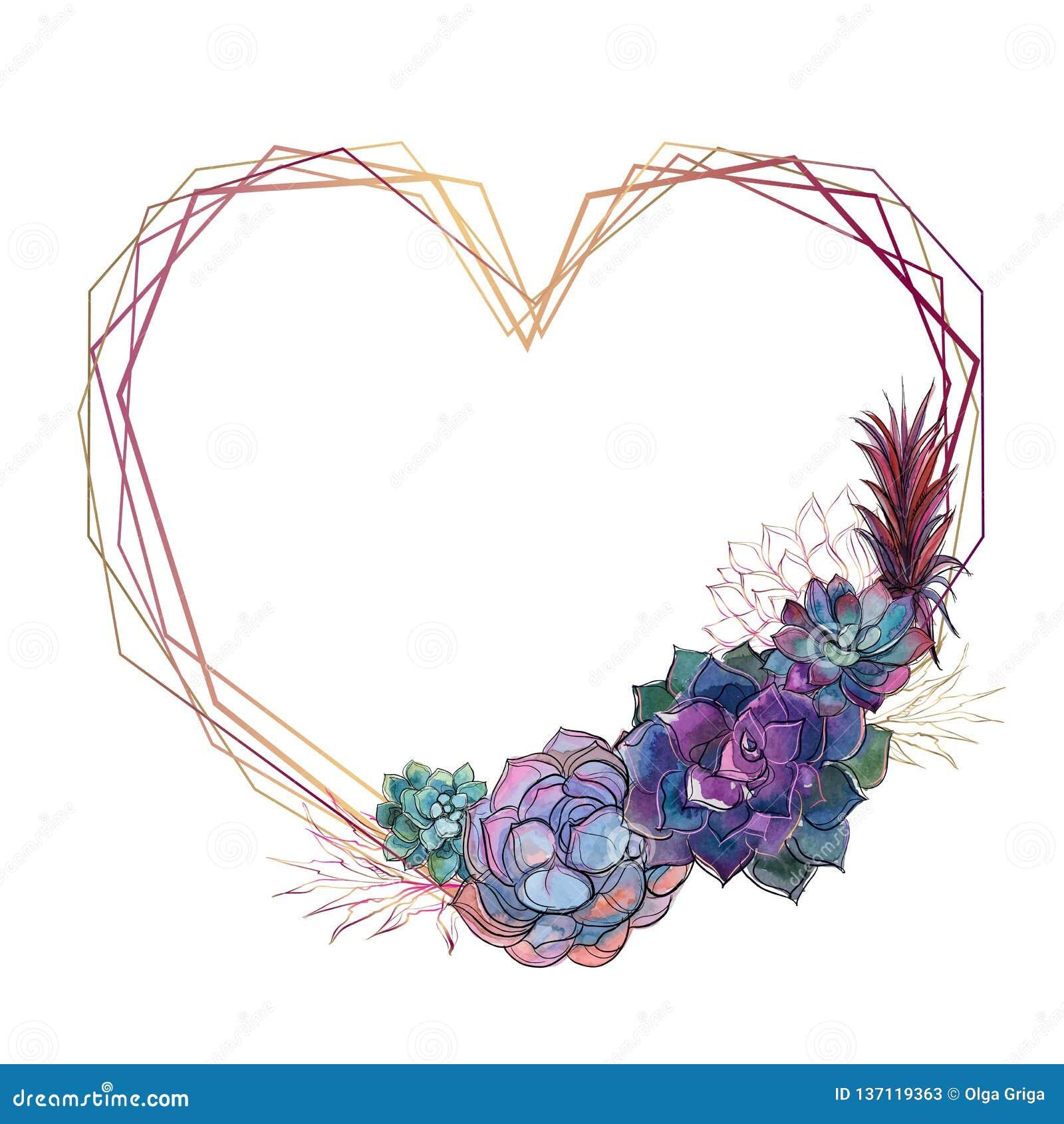 Struttura del cuore dell oro con i succulenti valentine watercolor grafici Vettore