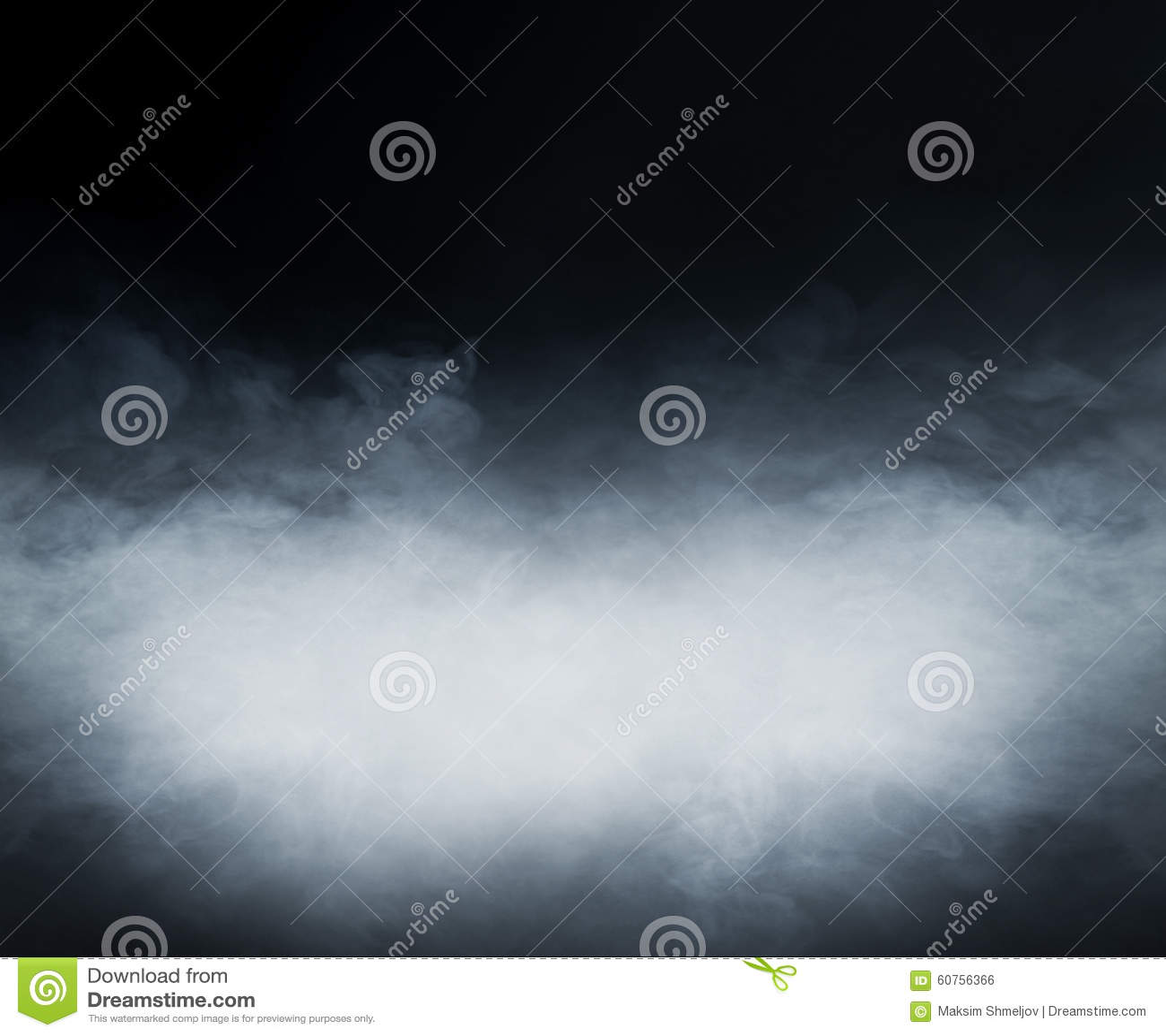 Struttura del fumo sopra fondo nero in bianco