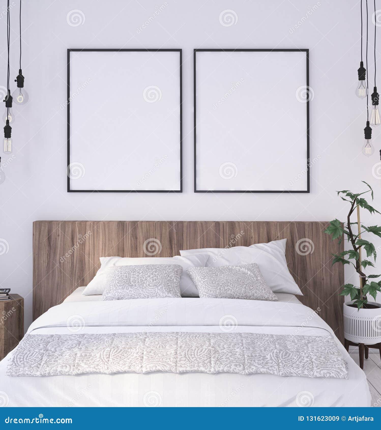Struttura del manifesto del modello nel fondo interno della camera da letto rustica
