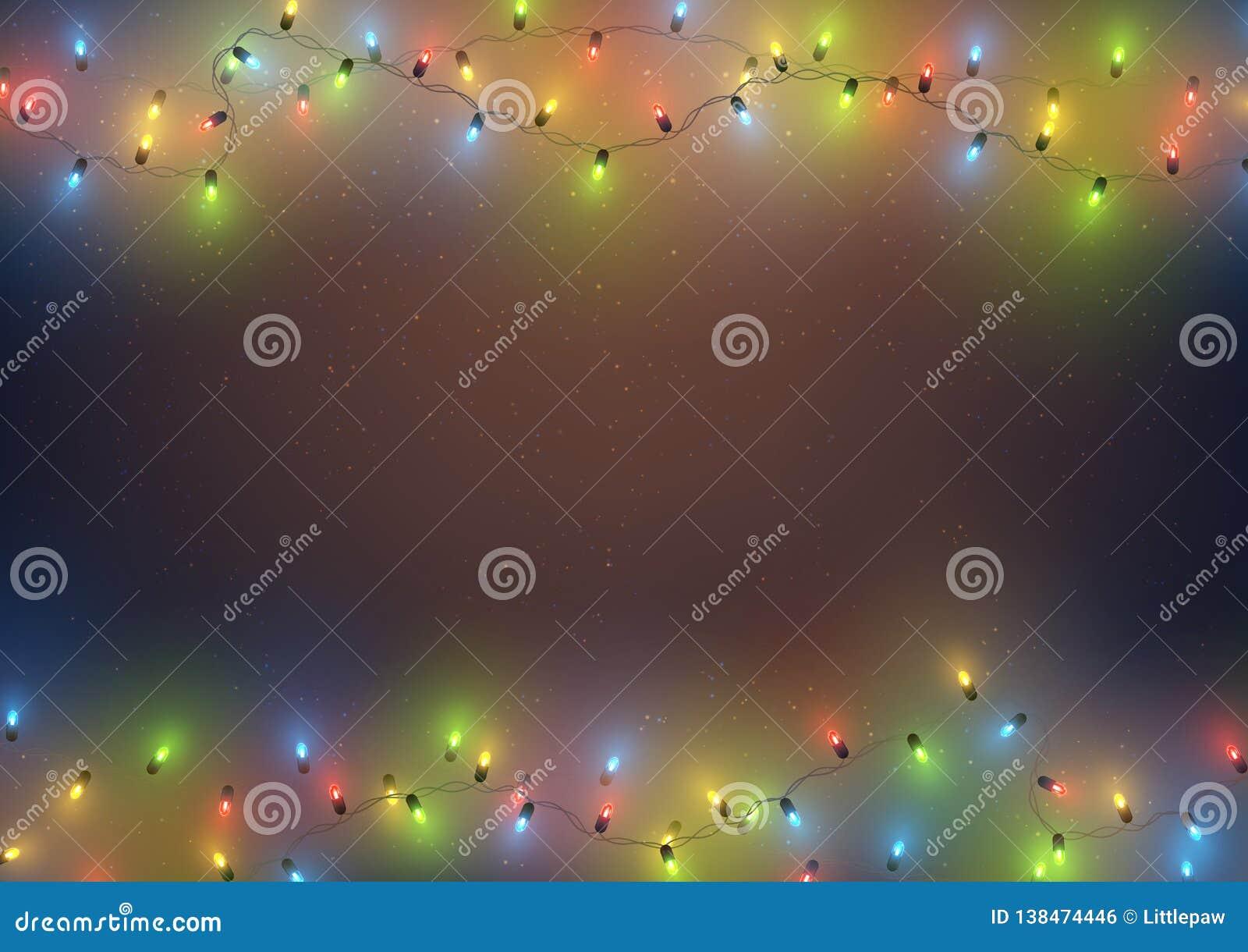 Struttura del modello del fondo con le luci principali variopinte ghirlanda, Natale, nuovo anno, festa, illustrazione di vettore
