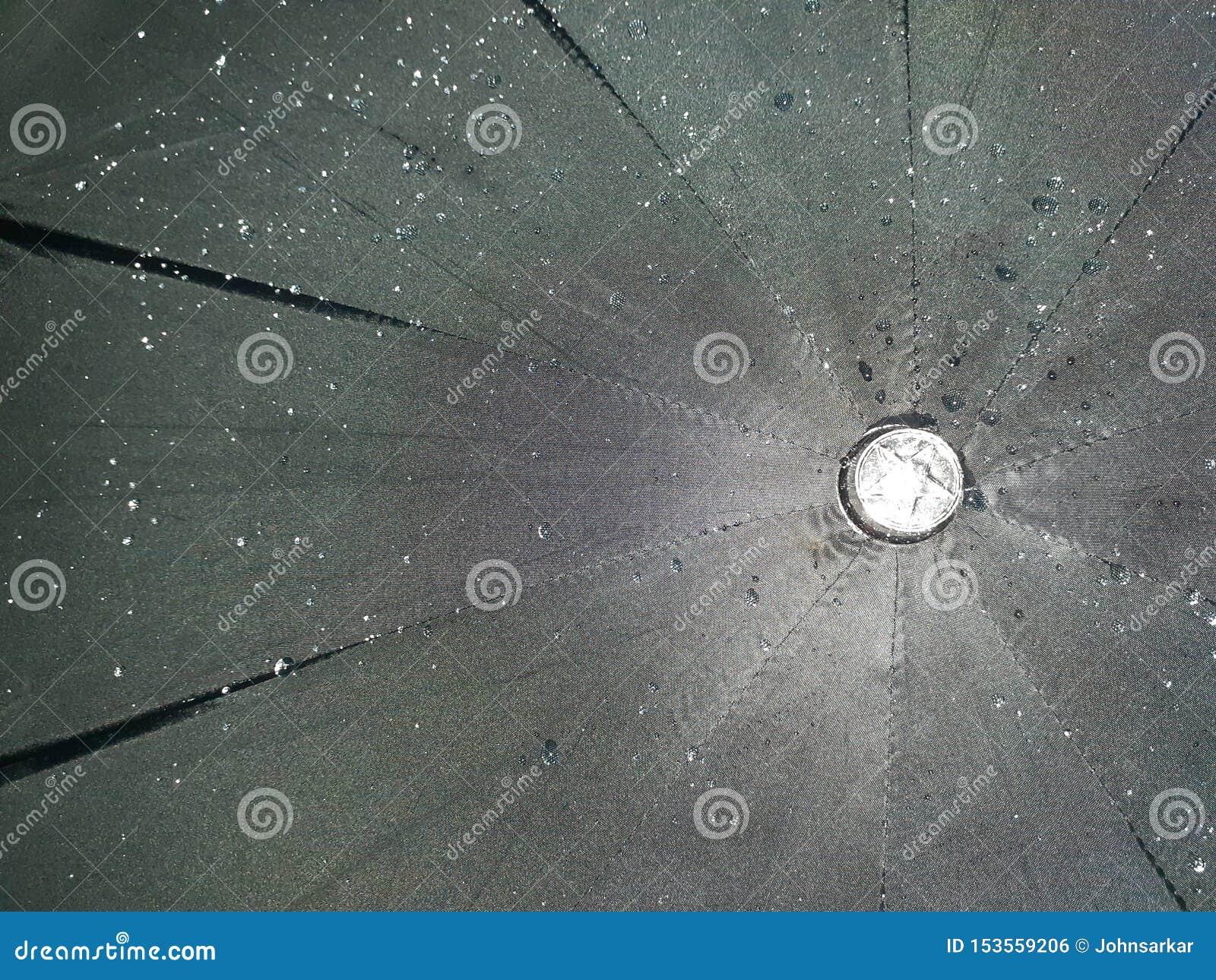 Struttura dell ombrello nero con le gocce di acqua