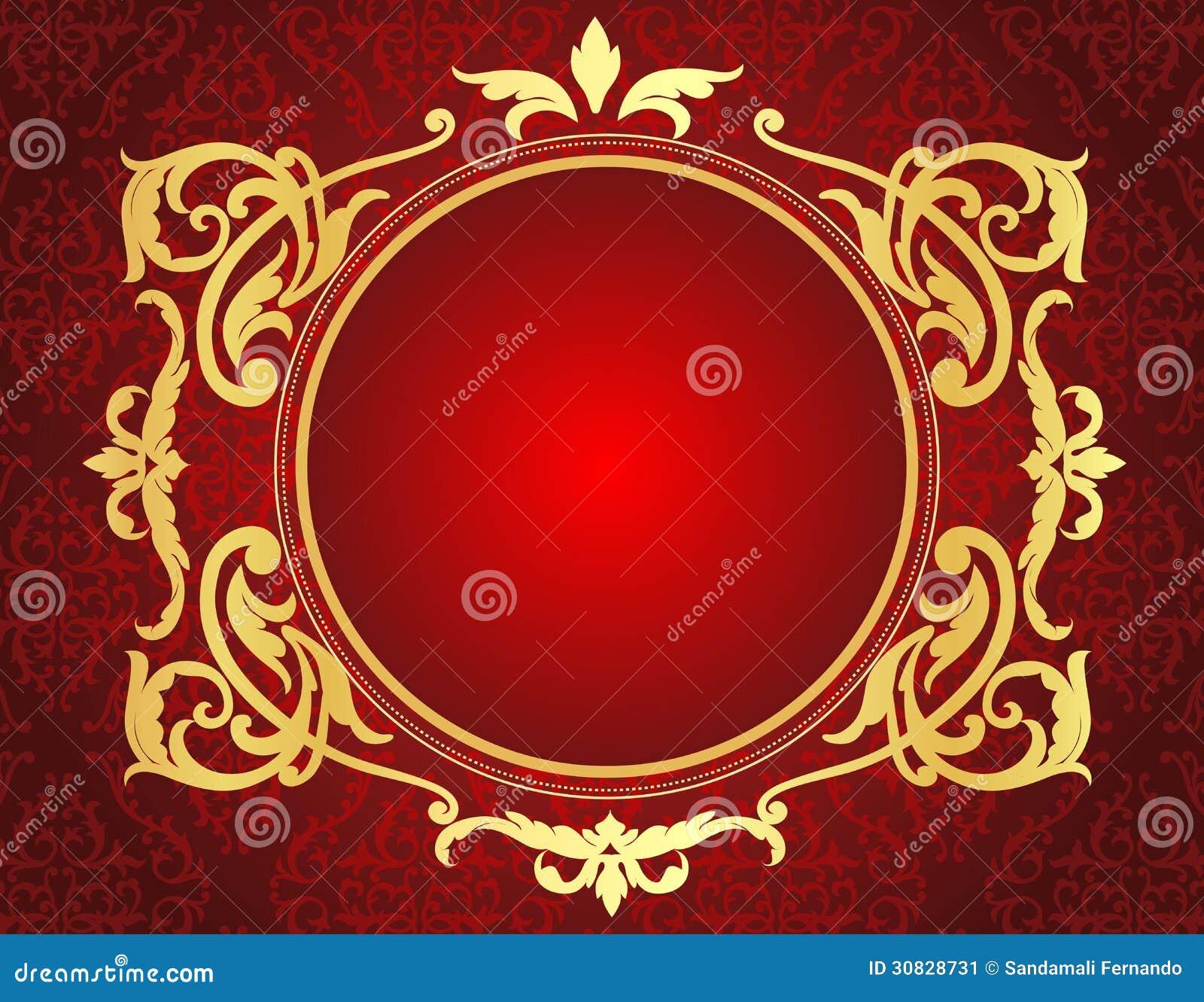 Struttura dell oro sul fondo rosso del modello del damasco