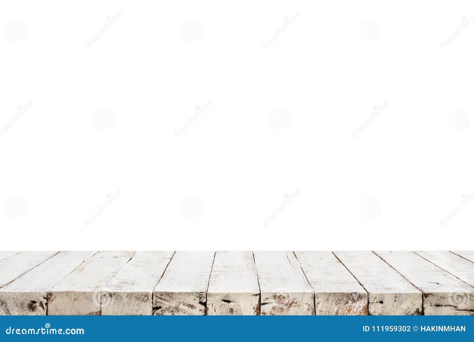 Struttura di legno bianca reale del piano d appoggio su fondo bianco