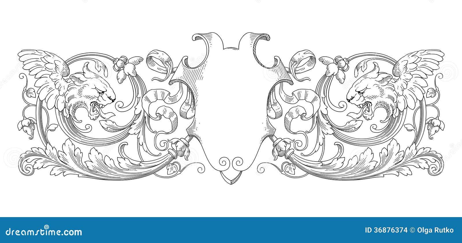 Download Struttura Di Lion Decoration Illustrazione Vettoriale - Illustrazione di decorazione, fiore: 36876374