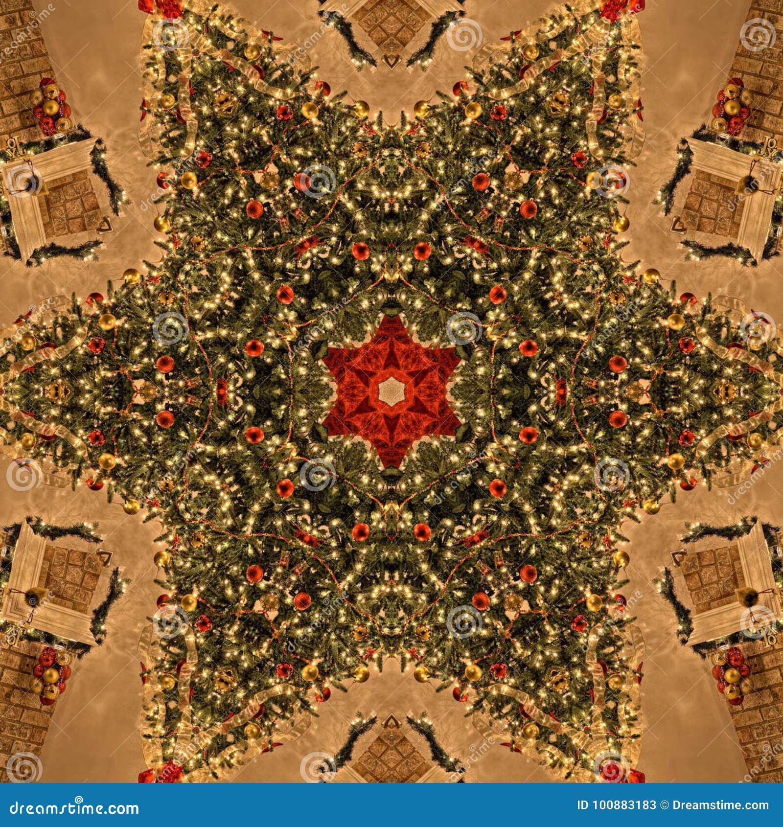 Struttura di Mandala Kaleidoscope dell estratto dell albero di Natale
