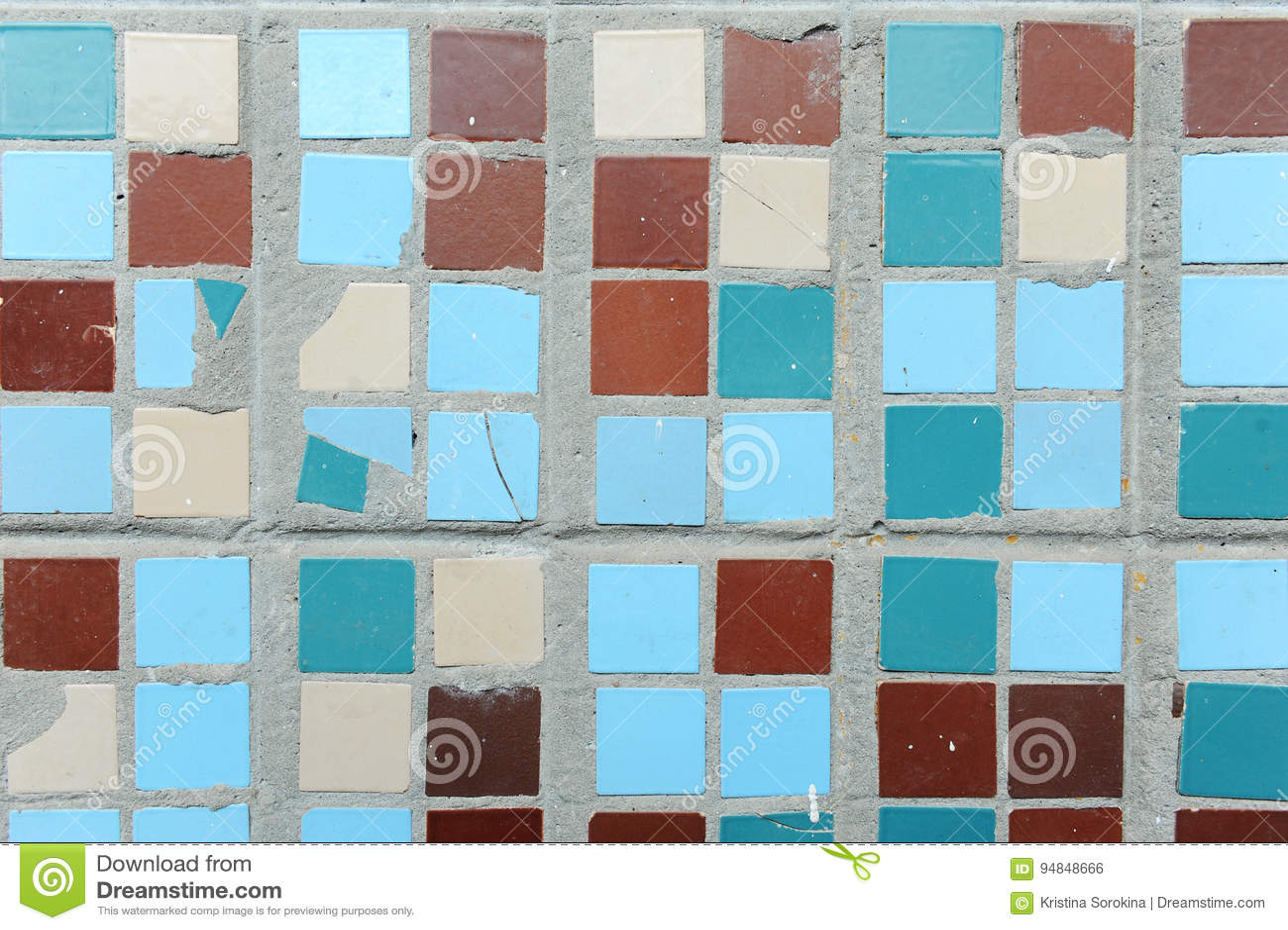 Struttura di piccole mattonelle quadrate beige blu turchese e