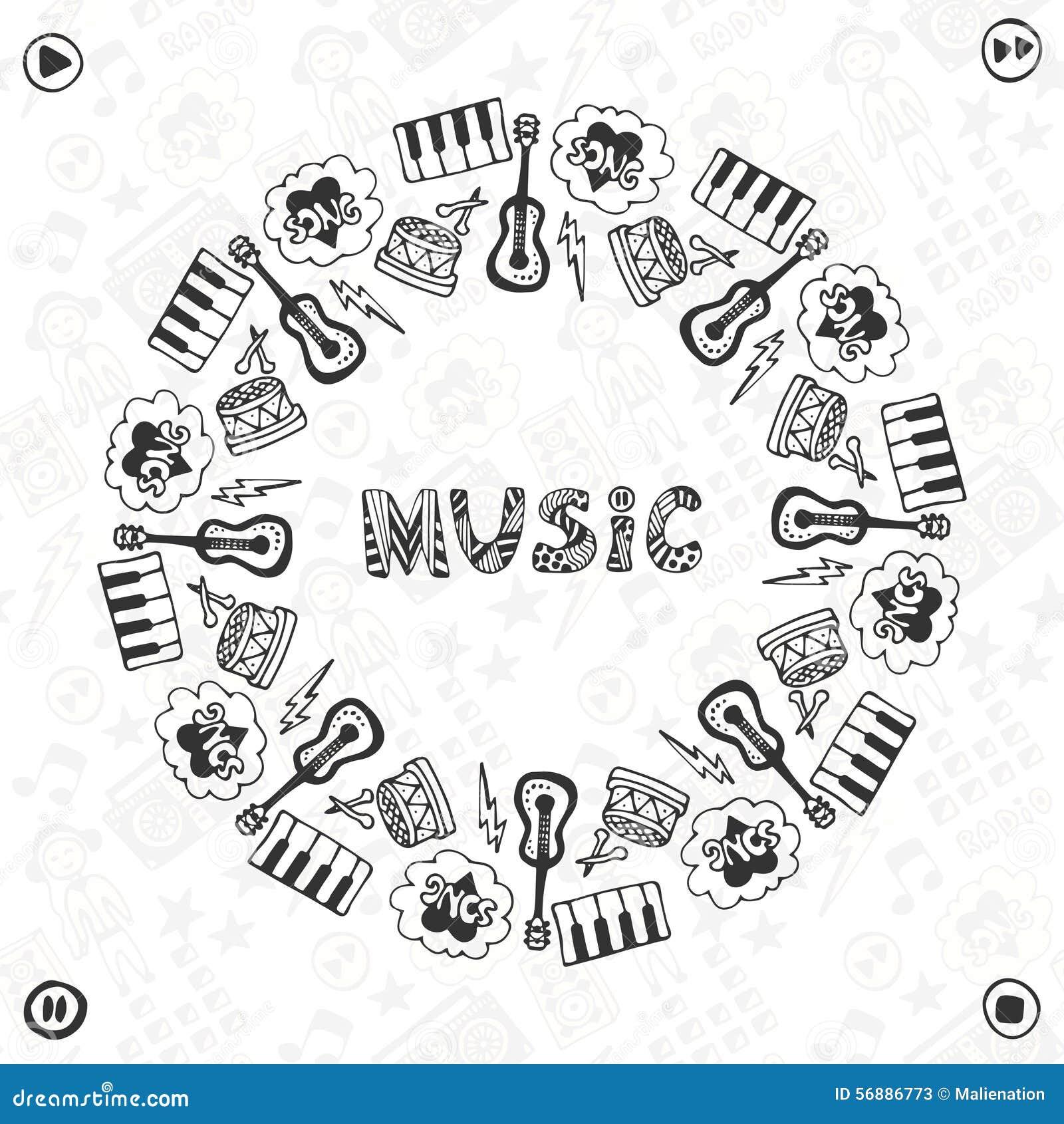 Struttura disegnata a mano di musica Icone musicali di schizzo Modello per l insegna, il manifesto, l opuscolo, la copertura, il