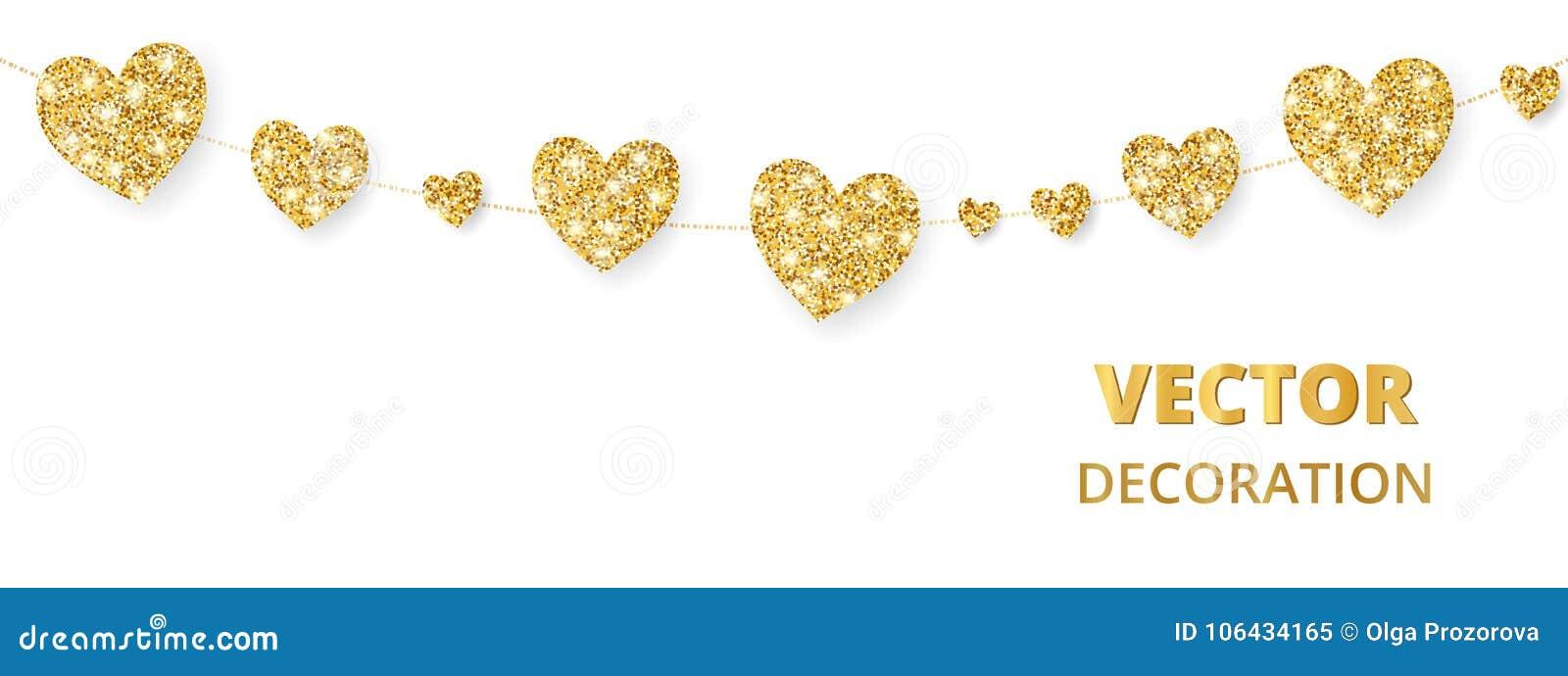 Struttura dorata dei cuori, confine senza cuciture Scintillio di vettore isolato su bianco Per la decorazione del giorno di madri