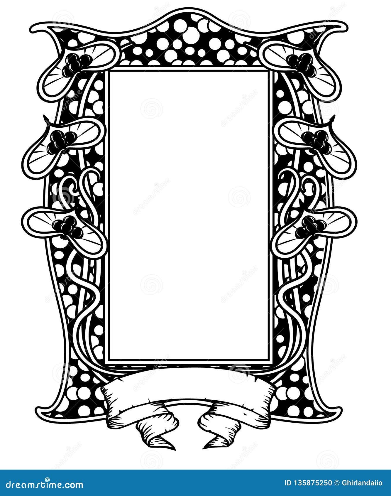 Struttura floreale d annata in bianco e nero Progettazione di Art Nouveau Illustrazione di vettore forma del cervo maschio