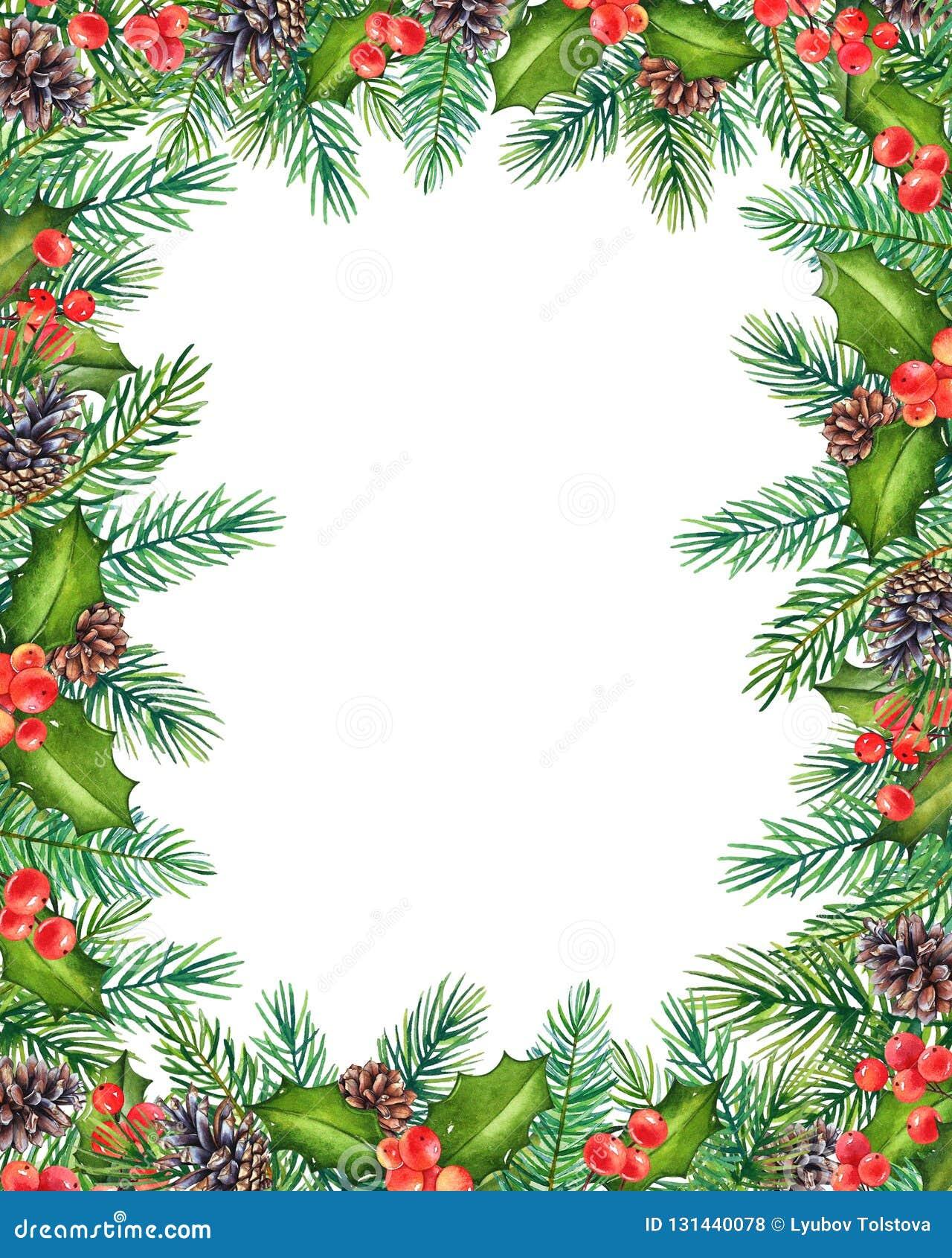 Struttura floreale di Natale decorativo con i rami dell acquerello di agrifoglio con le bacche ed il pino con i coni isolati su b