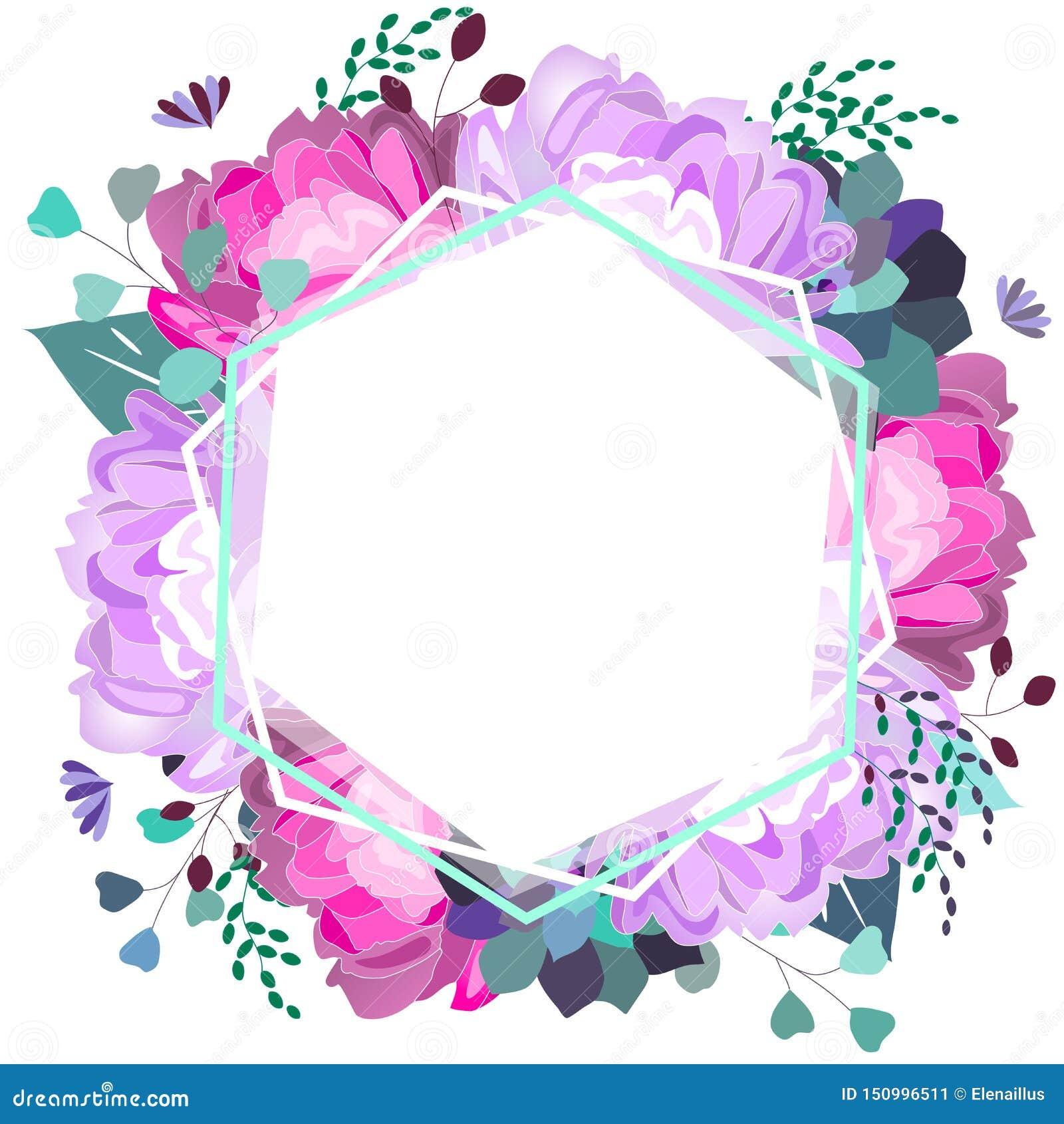 Struttura floreale di vettore con la peonia viola e di rosa, succulente, foglie Progettazione d avanguardia di estate