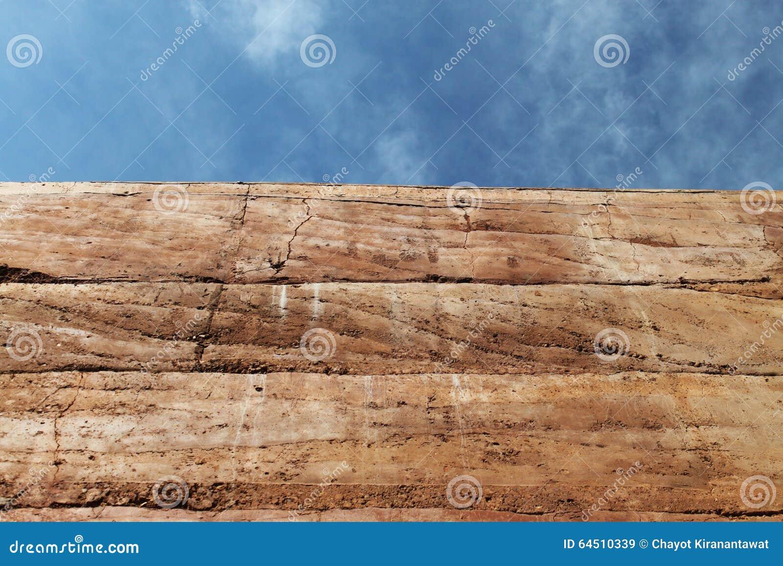 Struttura materiale piantata della parete della terra sul fondo del cielo