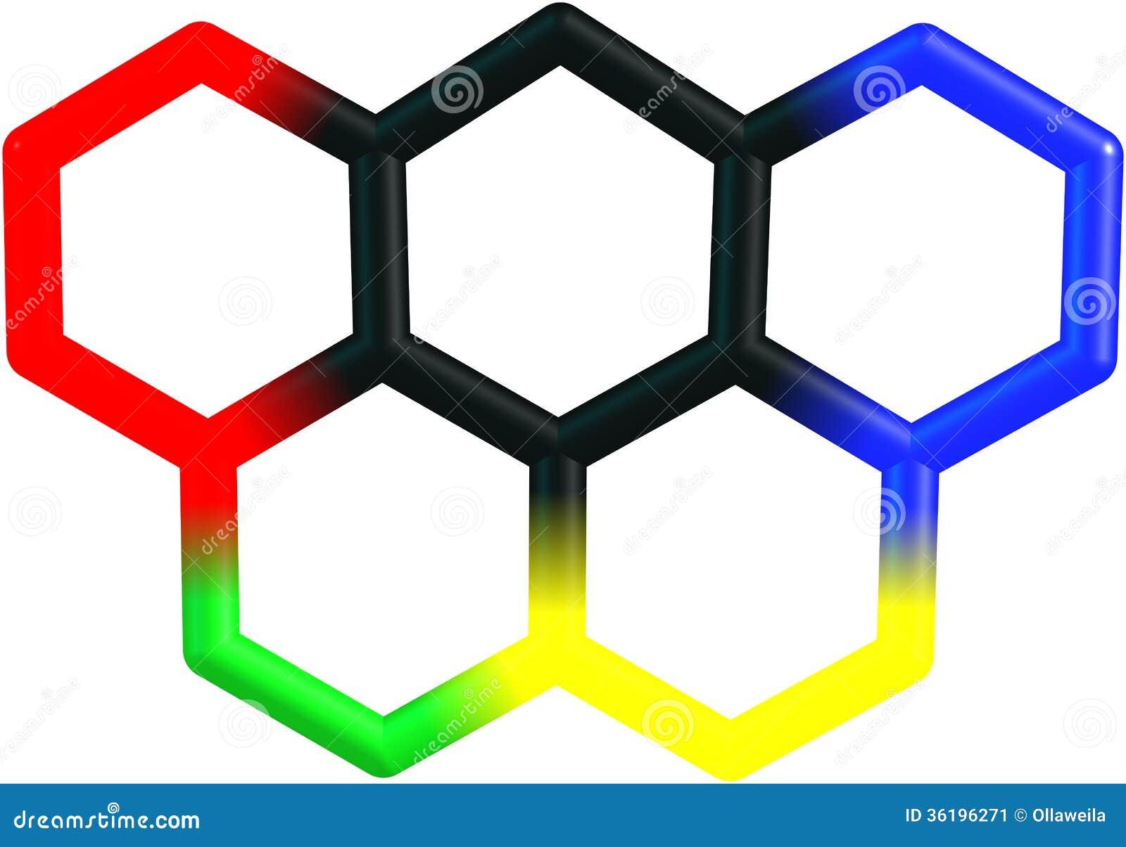 Struttura molecolare di Olympicene su bianco
