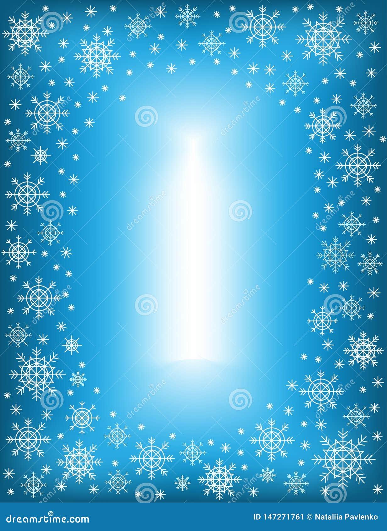 Struttura originale per le foto ed il testo Fiocchi di neve Openwork su un fondo blu creare un umore festivo Un regalo meraviglio