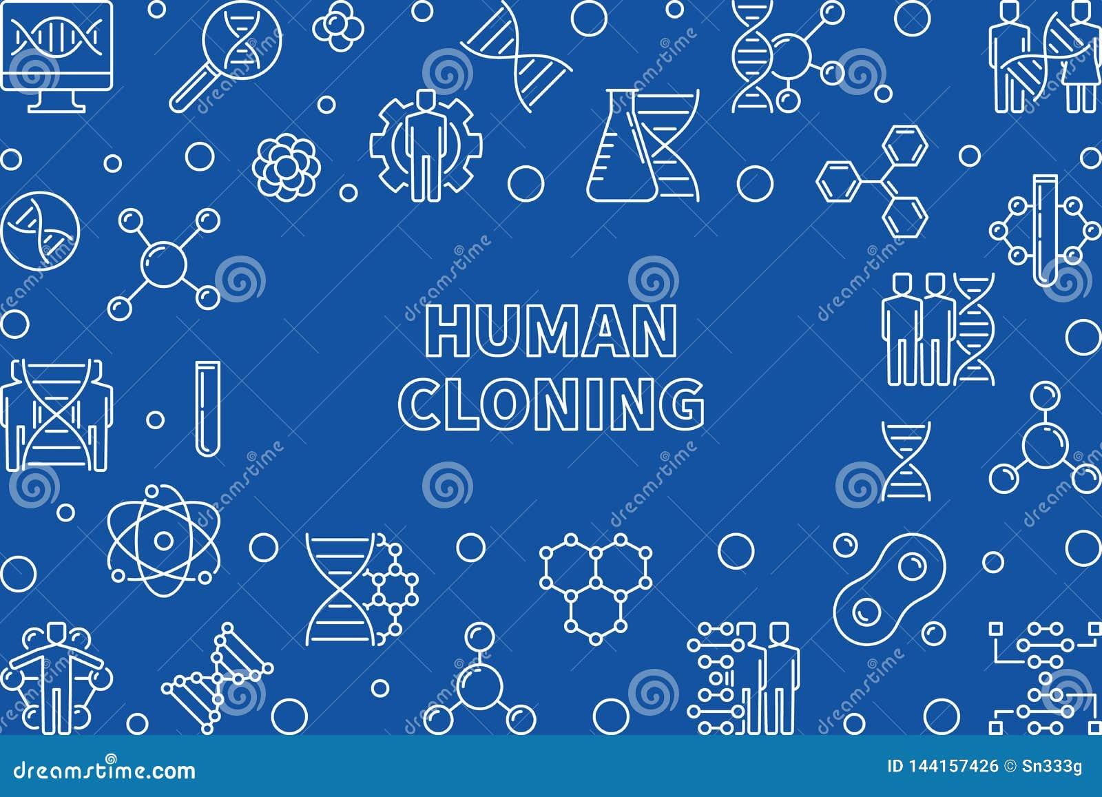 Struttura orizzontale del profilo della clonazione umana Illustrazione di vettore