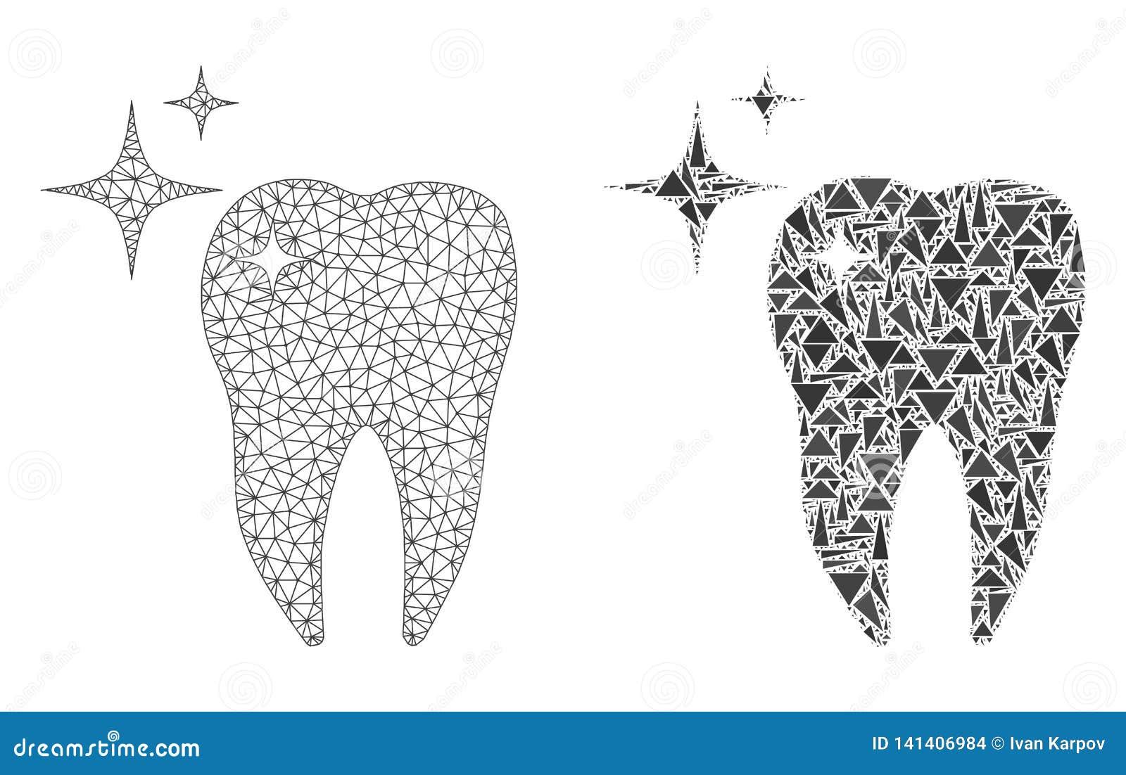 Struttura poligonale Mesh Excellent Tooth del cavo ed icona del mosaico