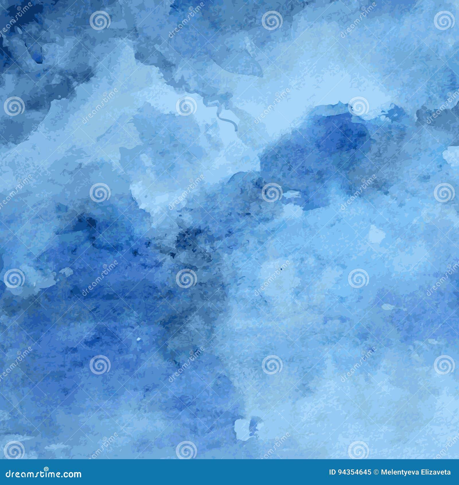 Struttura progettata della carta di lerciume, fondo astratto artistico blu di vettore dell acquerello, stile disegnato a mano per