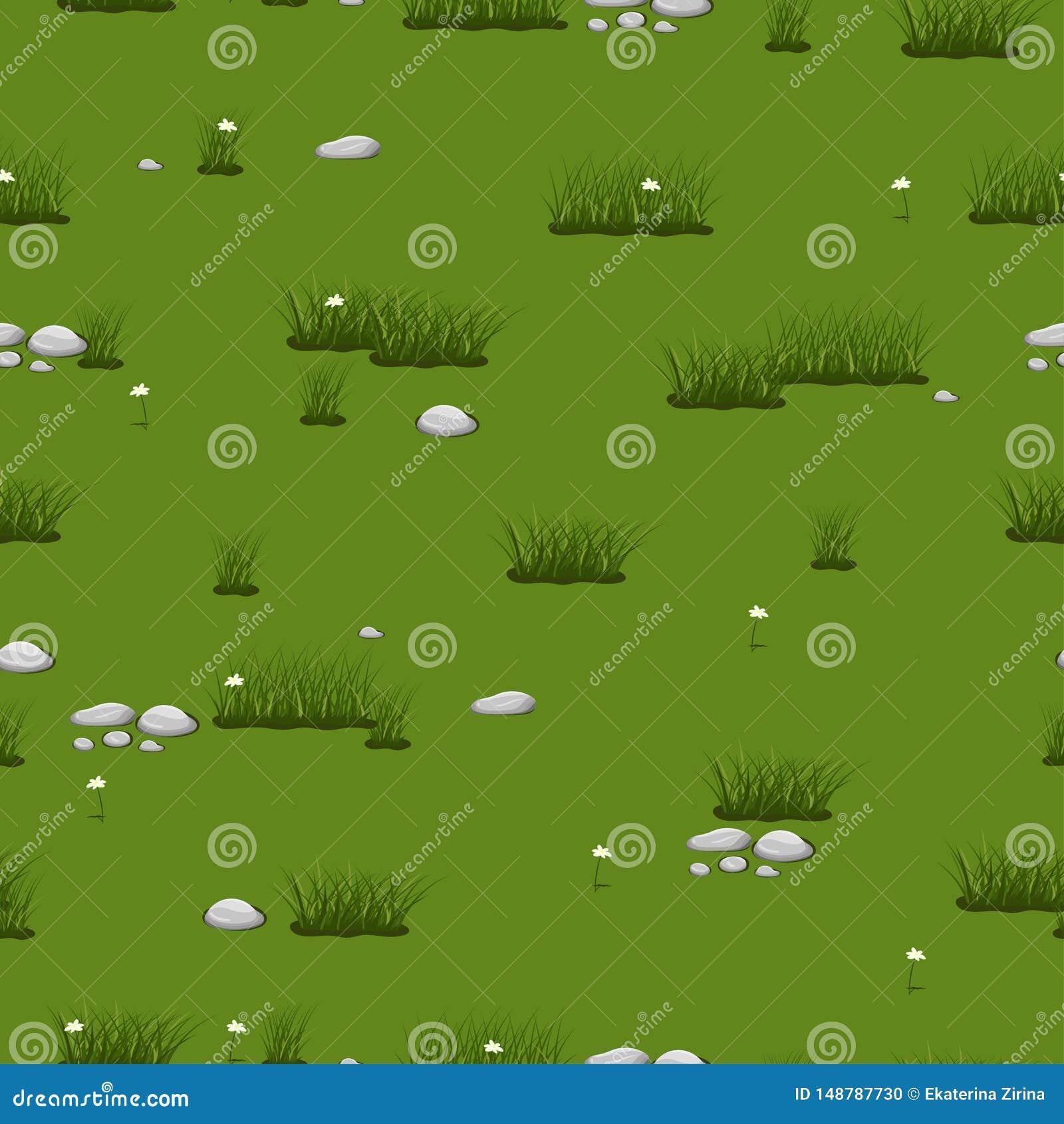 Struttura senza cuciture con erba verde e le pietre Immagine di vettore