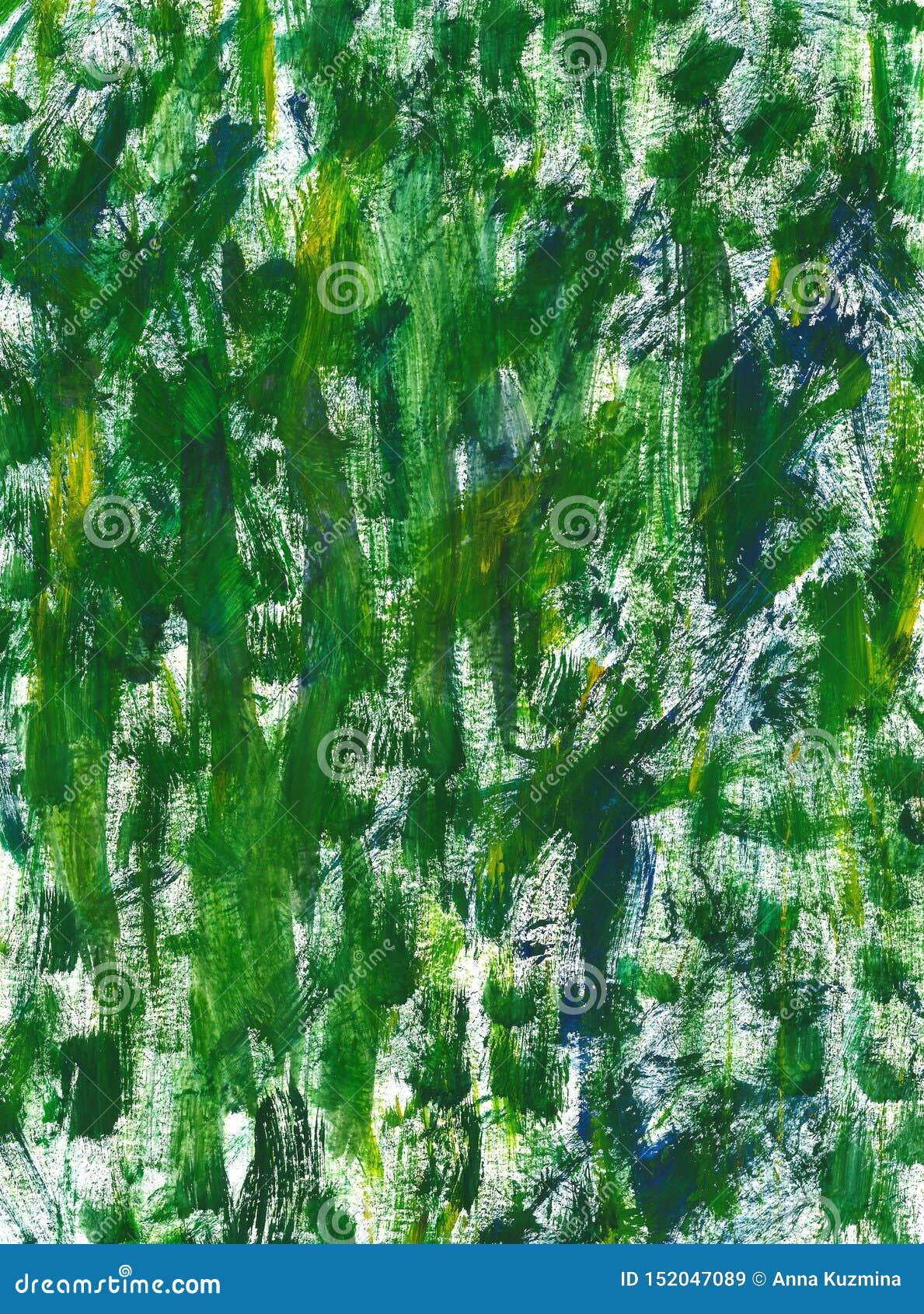 Struttura verde disegnata a mano con le pennellate e le macchie della gouache o della pittura acrilica Imitazione di erba fresca