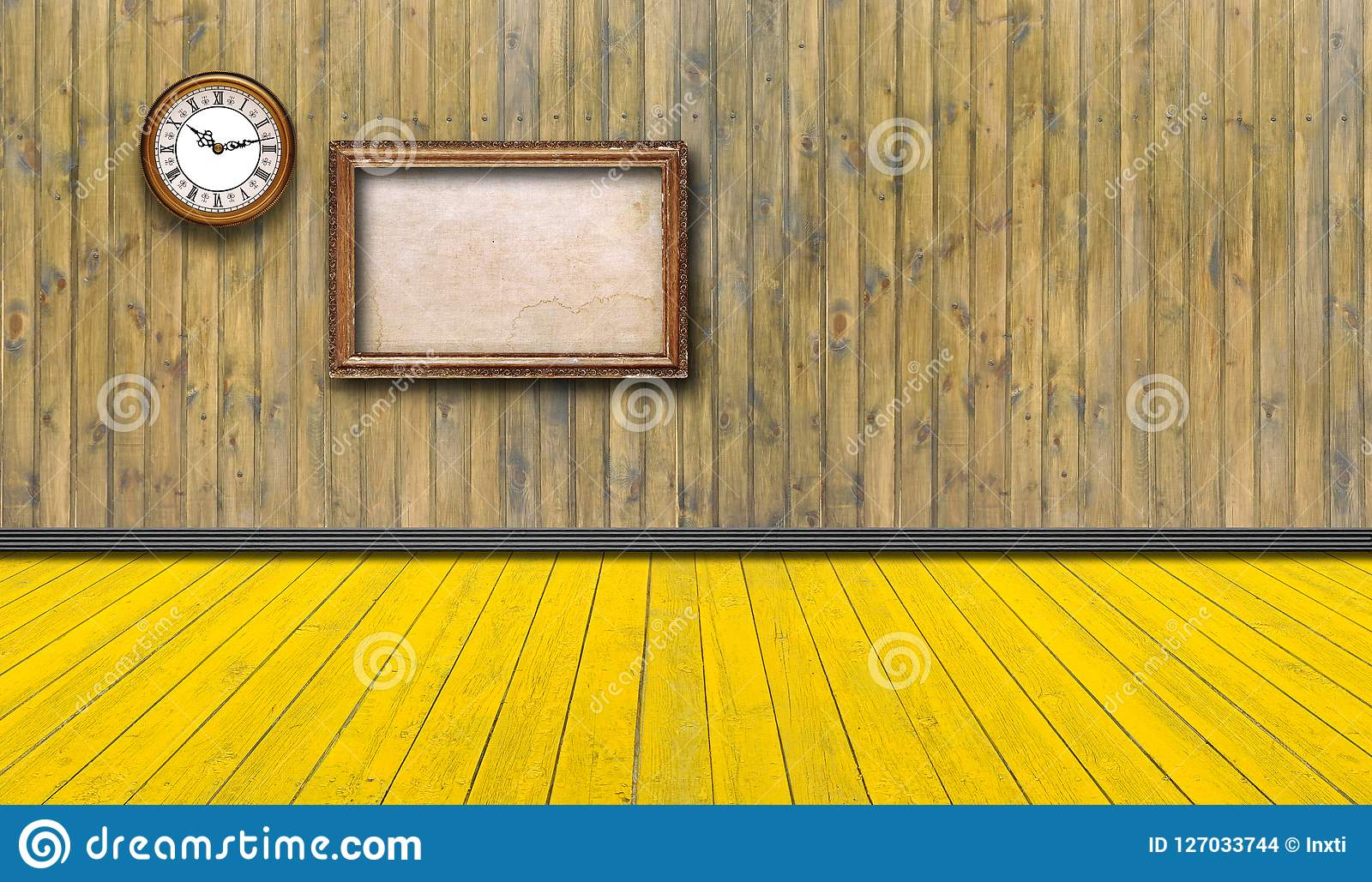 Strutture ed orologio d annata vuoti contro una parete di legno