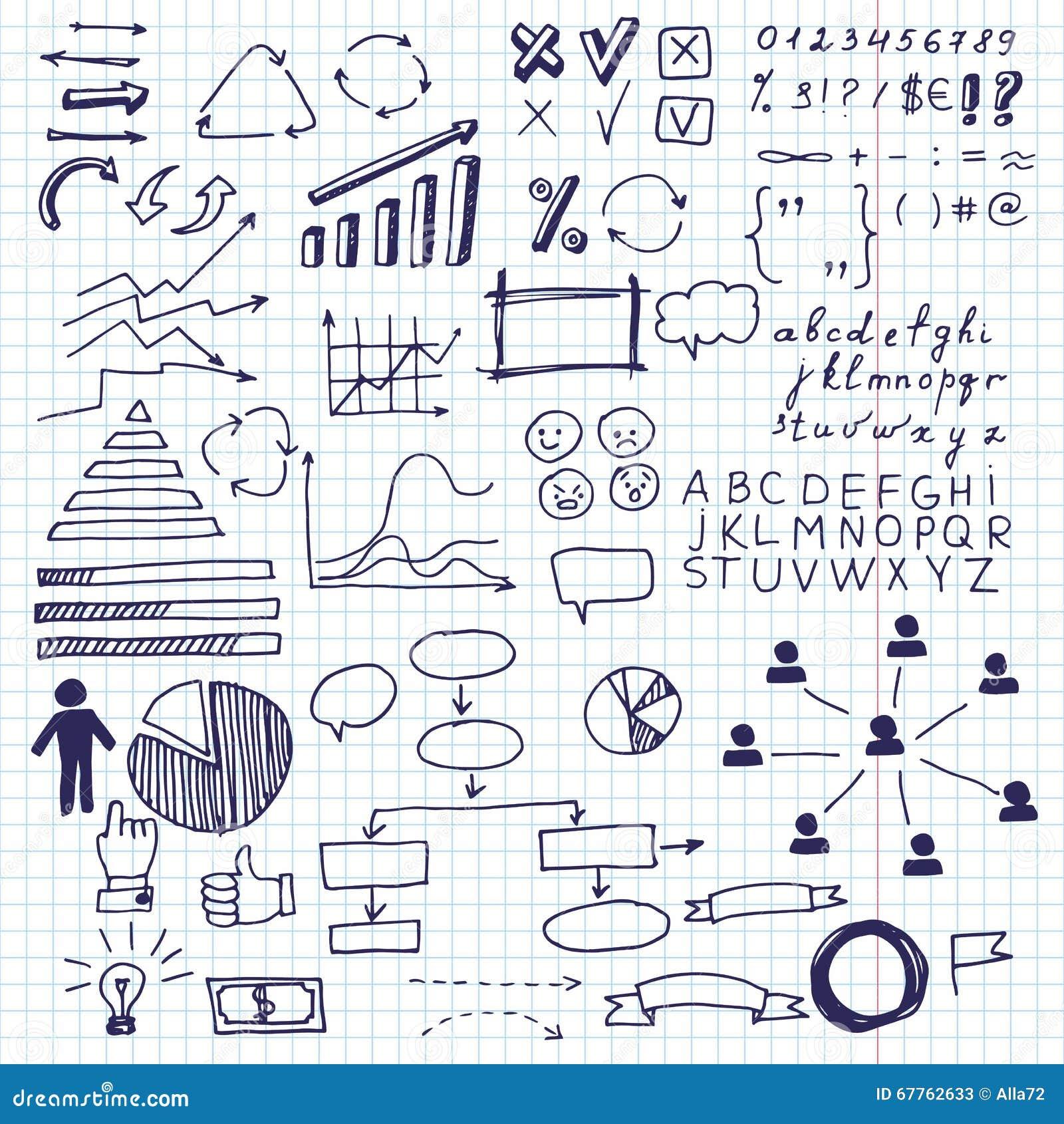 Strzała i biznesów elementy, ewidencyjna grafika Set doodle biznesowych map grafika ewidencyjni elementy na prześcieradle w klatc