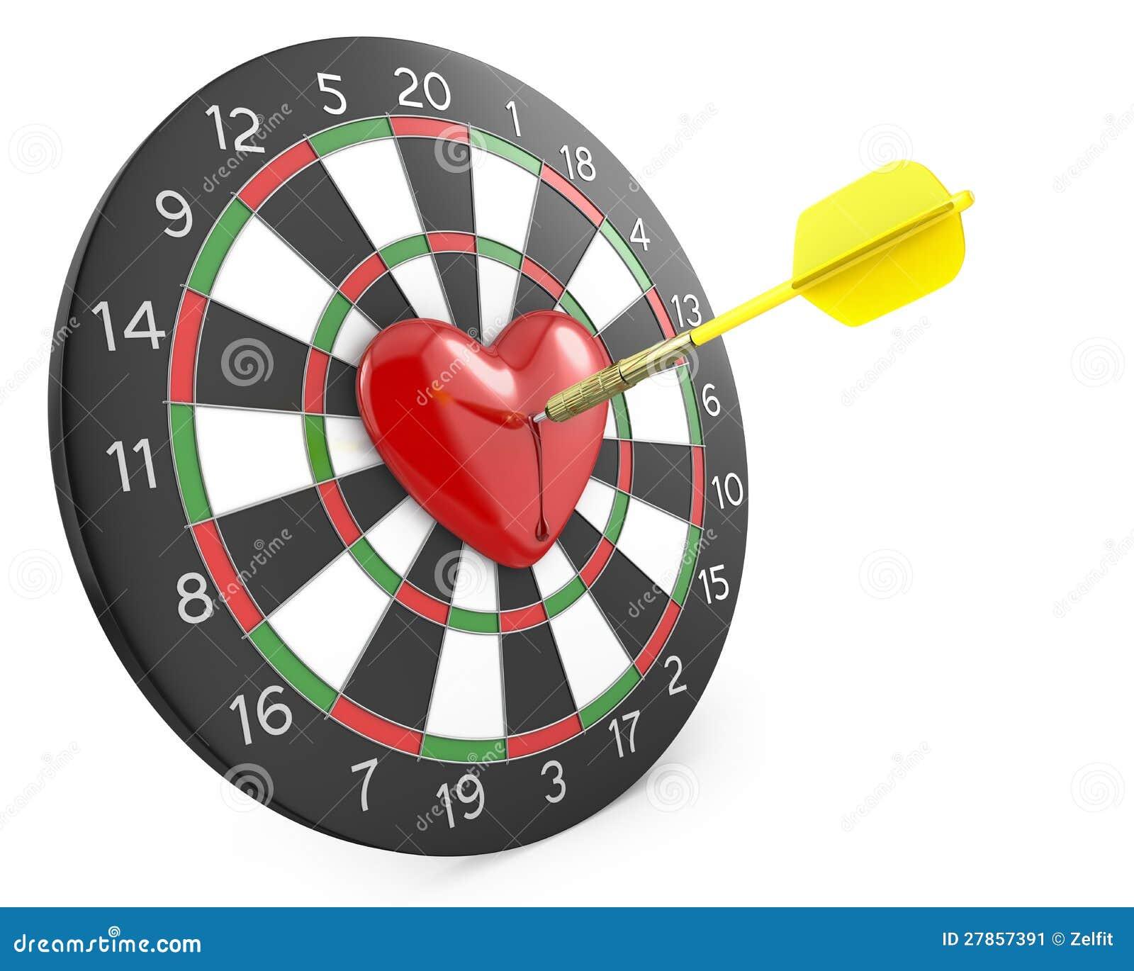 Strzałka uderza serce w centrum dartboad