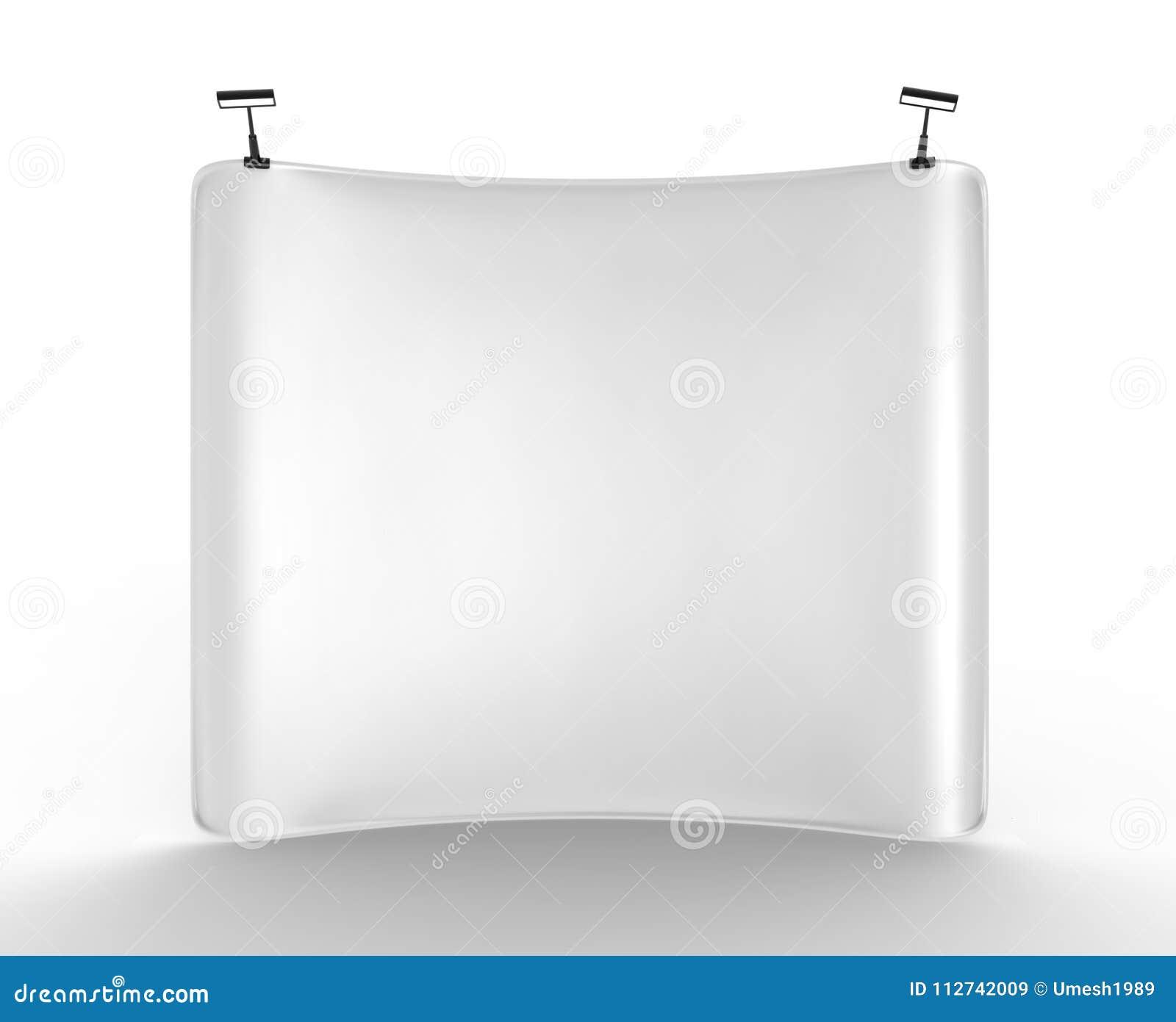 Strzela Up Wklęsłego napięcie tkaniny pokazu z Pustą Białą skóry tła ścianą ilustracja 3 d,