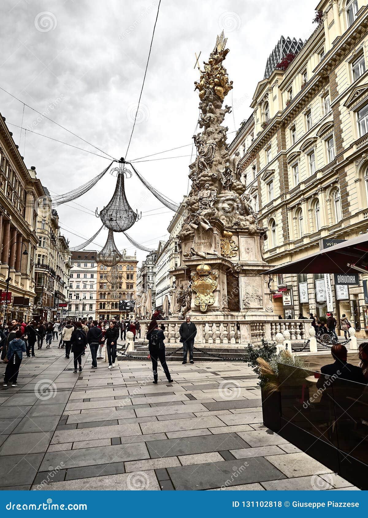 Strzelający Graben ulica i Wiener Pestsäule statua