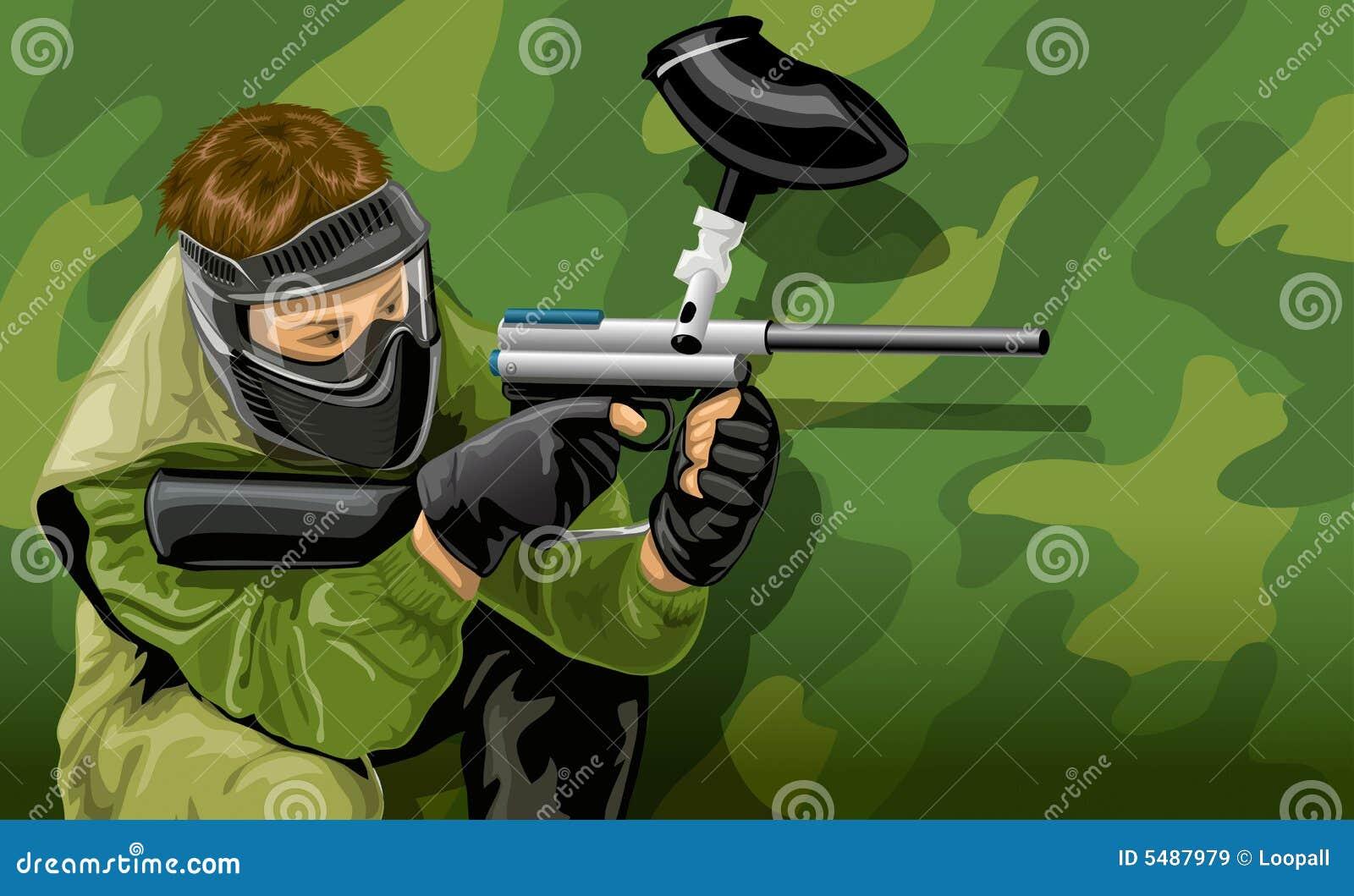 Strzelanie do paintball mecz gracza wektora