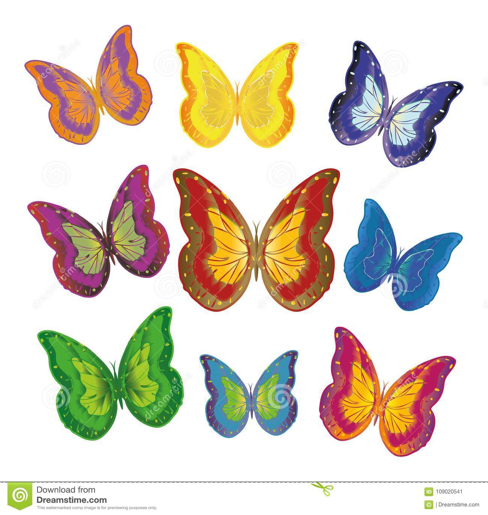 Stubarwni motyle kolory żółci, błękit, zieleń, mieszanka na białym tle
